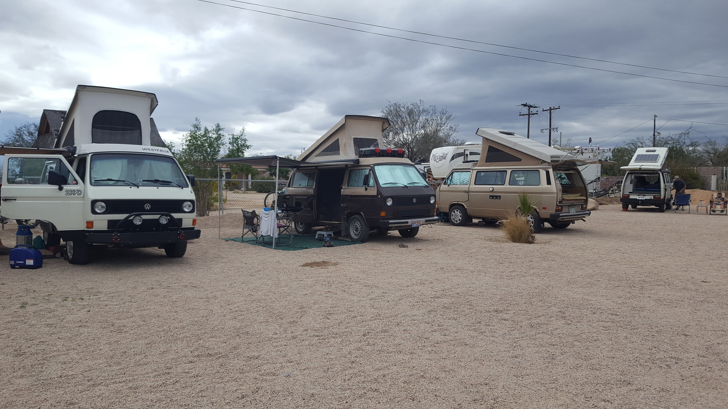 Our crew set up for a few moody days at Marantha Campground, outside La Paz, Baja