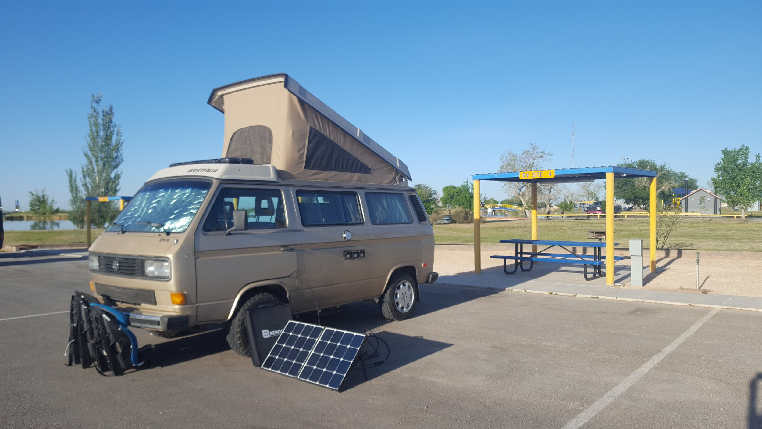 Our Jal Lake Park RV Site in Jal, NM.