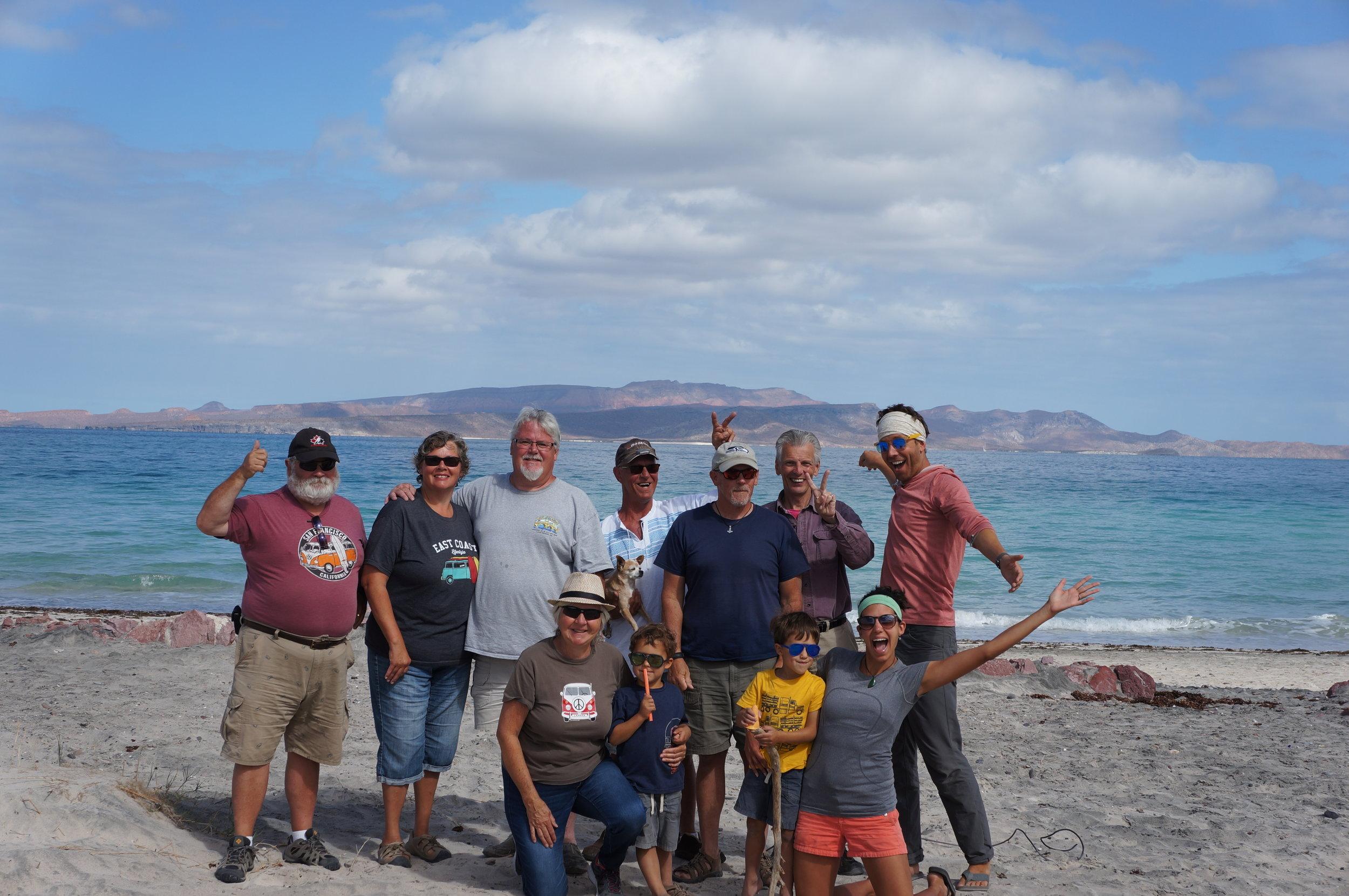 Tecolote Beach, Baja. Barry, Shannon, Brad, Jay (& Goonie the dog), Sam, Roger, Chip, Fern, Reid, Bennett, and myself