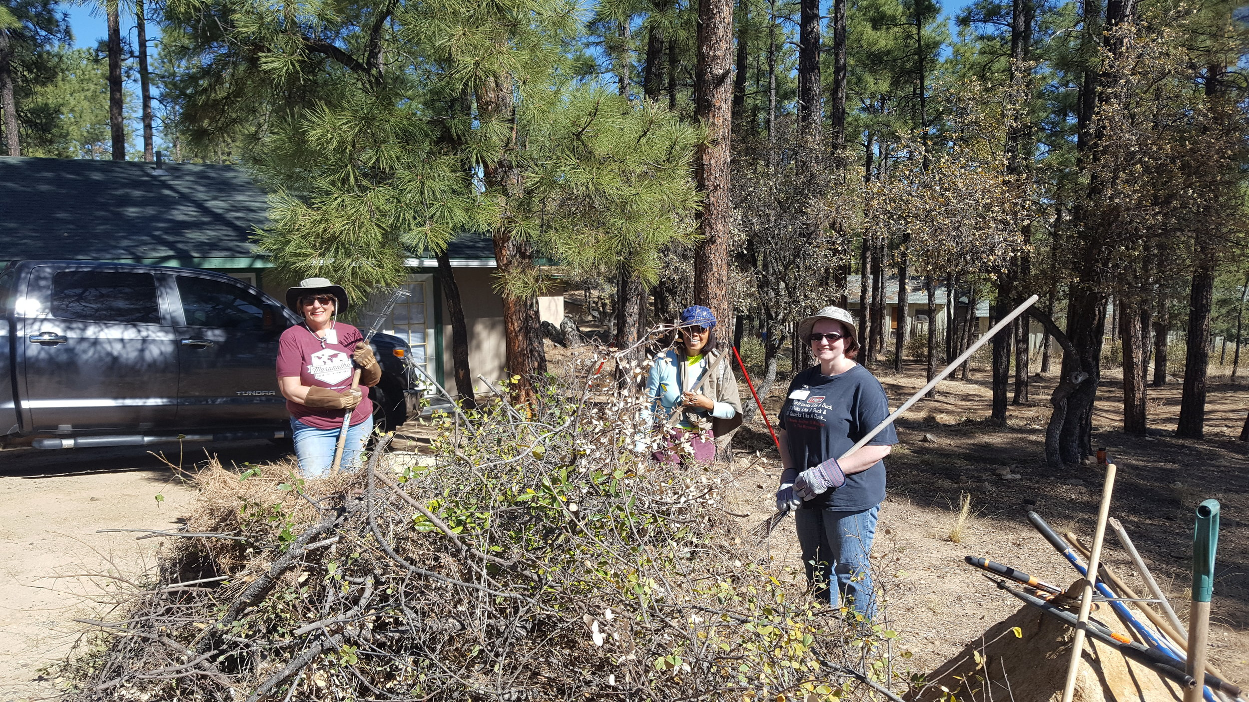 Landscaping crew hard at work!