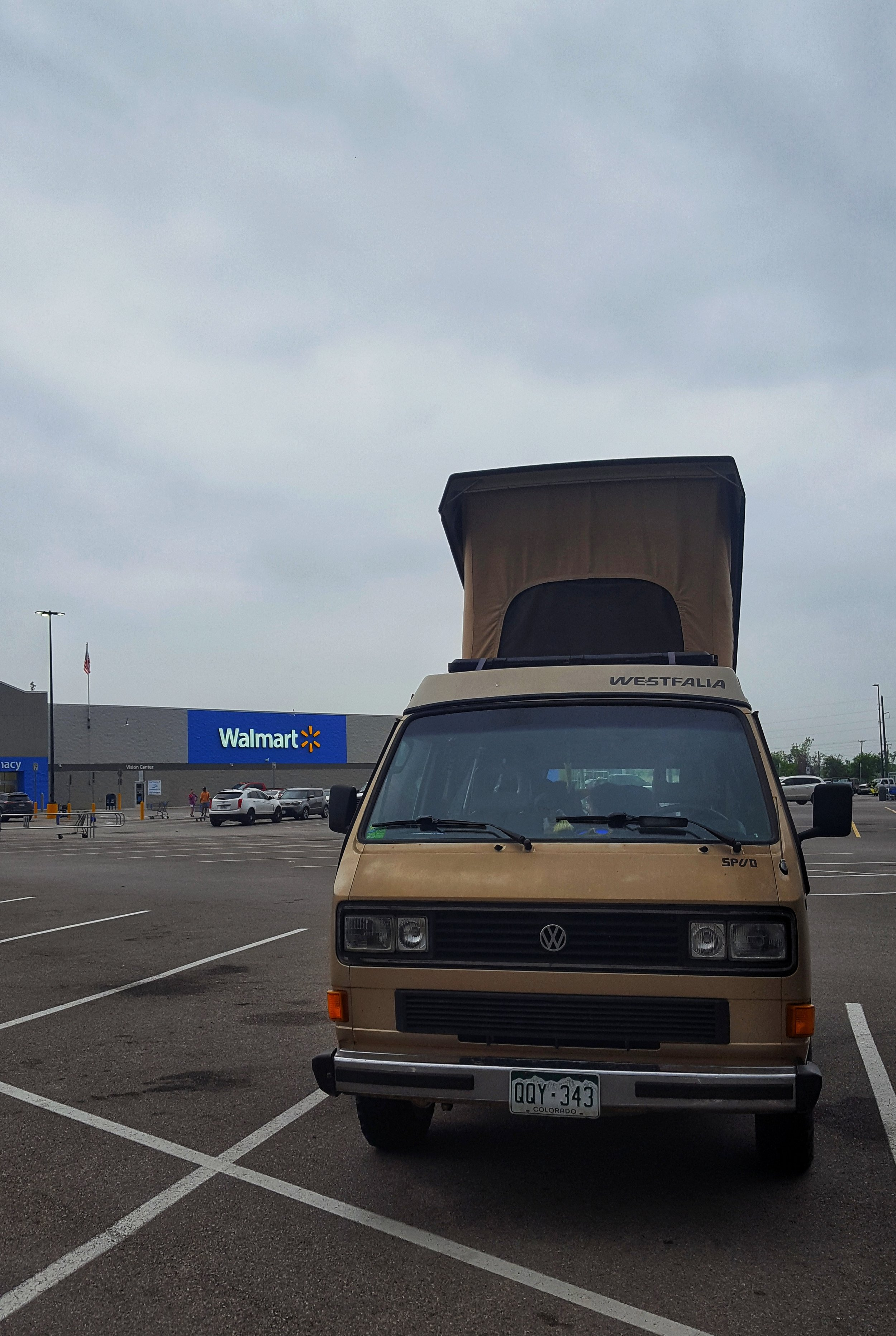 Our first-ever (and maybe last-ever) Walmart camping experience.