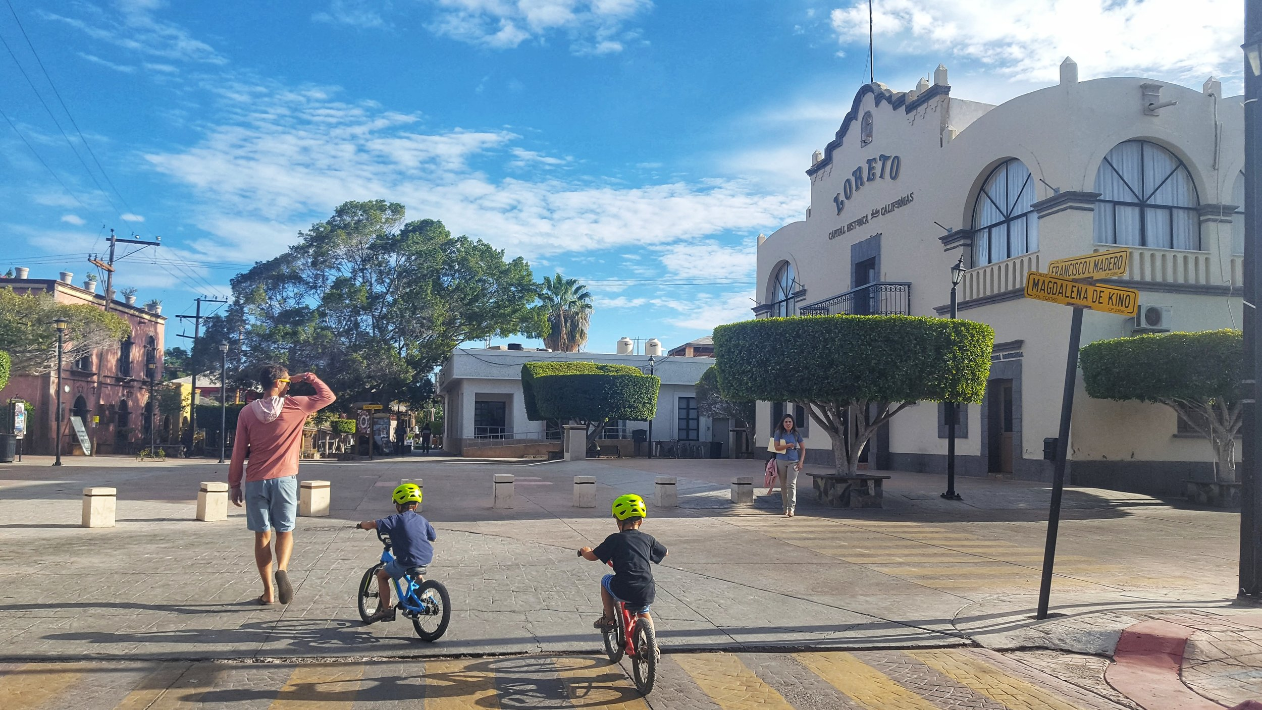 Our first glimpse at the charming historical center of Loreto - only a five minute bike from our campground.