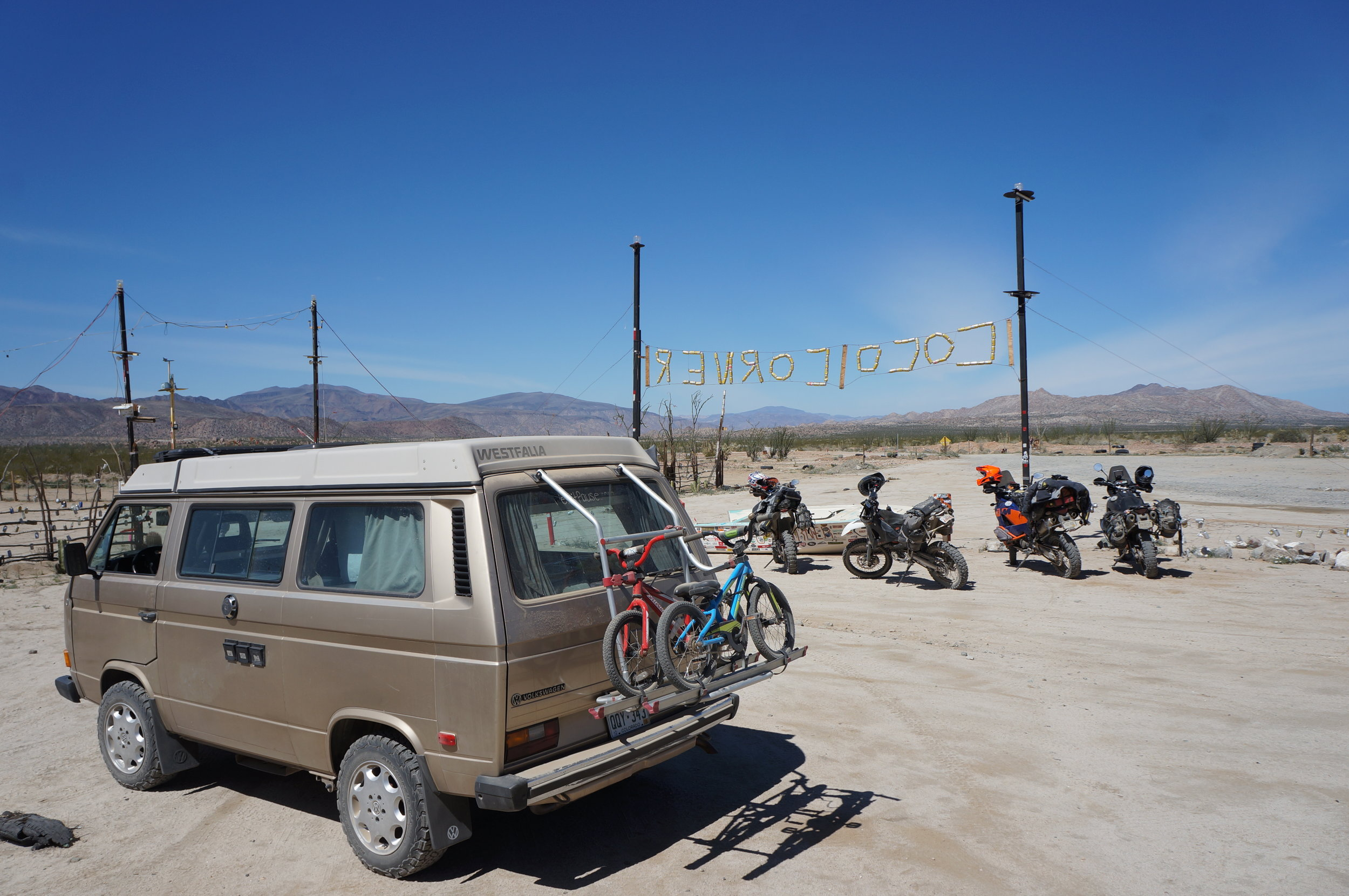 Chip making a stop at Coco's Corner in Baja.