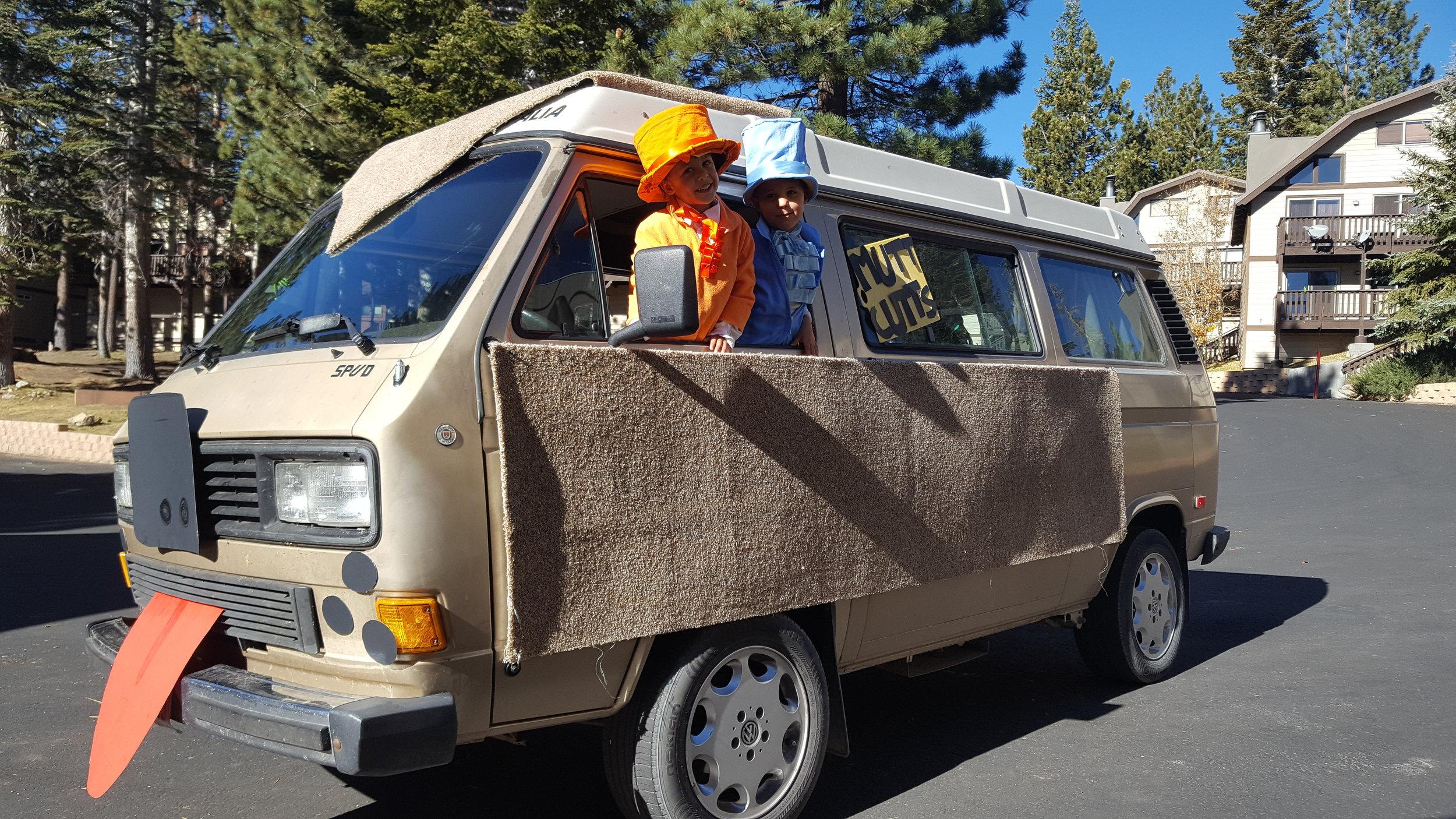 Lloyd & Harry aboard the Shaggin Waggin for Halloween in Mammoth Lakes, Cali