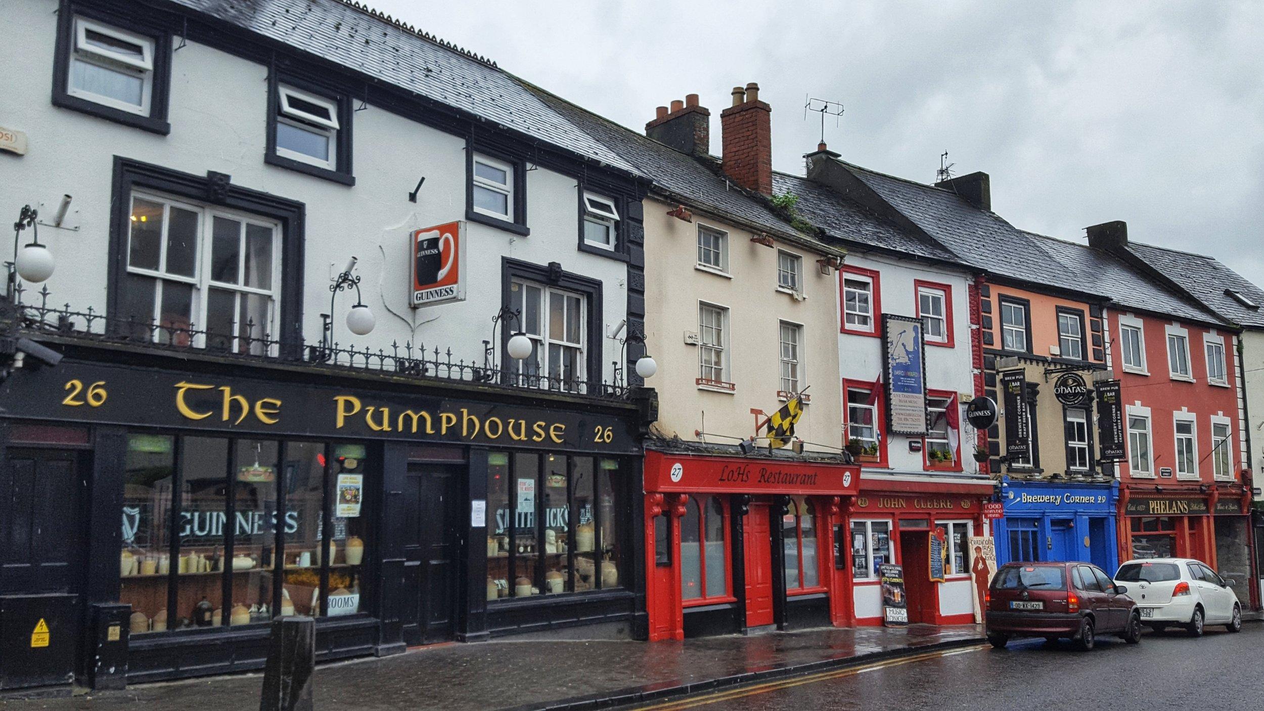 Beautiful buildings along the main road in Kilkenny, Ireland.