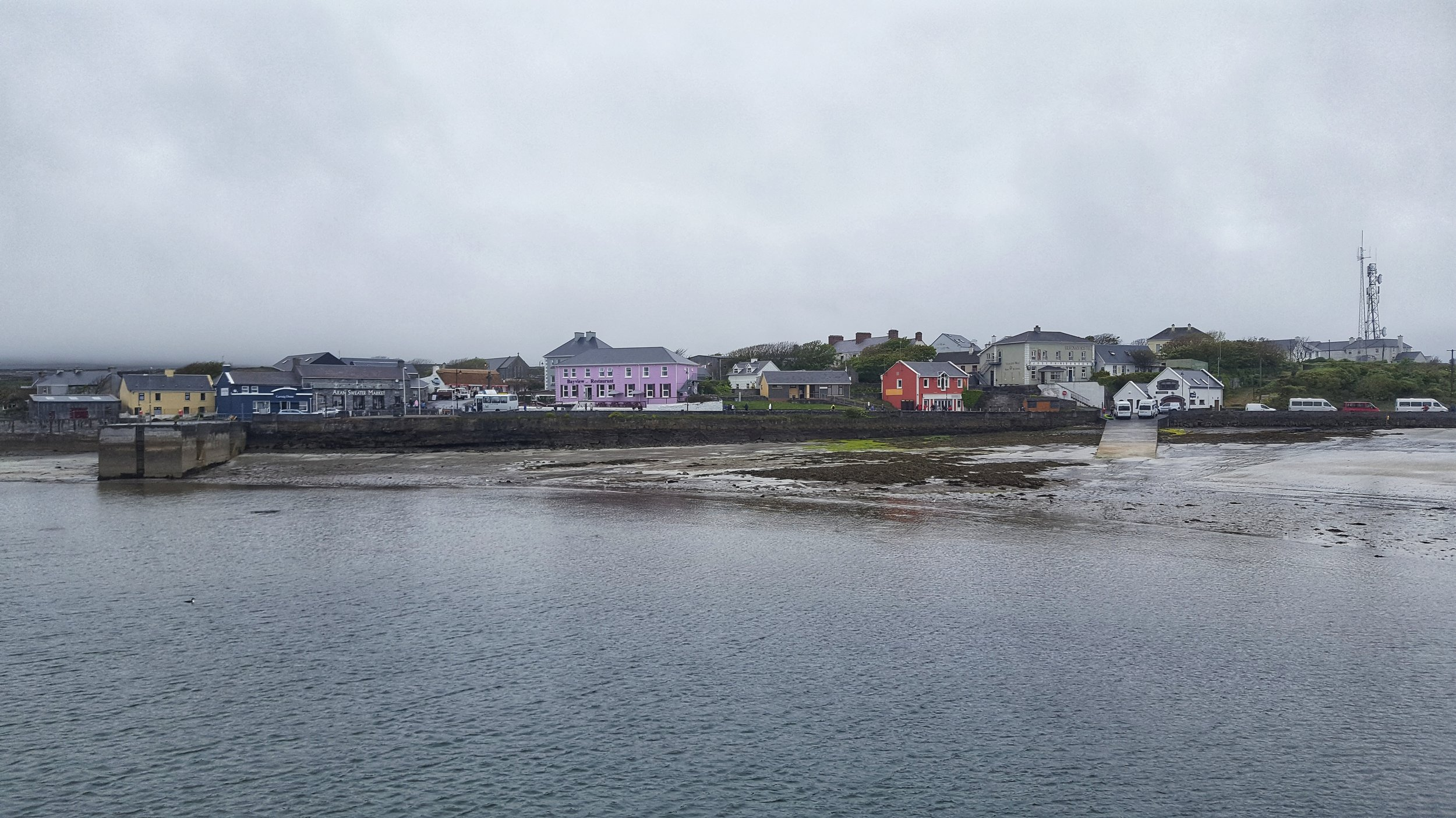 A view of Kilronan (Inishmore's main village) from the ferry - which is one of two ways to get to the Aran Islands. The other, by plane.