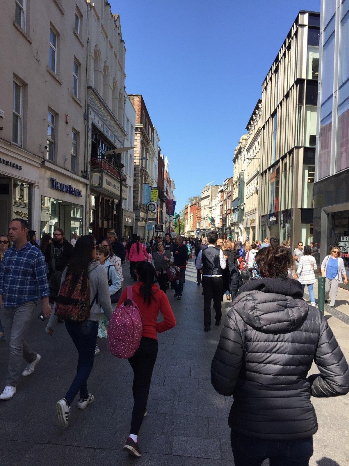 Back in the mix of hustle and bustle along Grafton Street, the pedestrian-friendly street