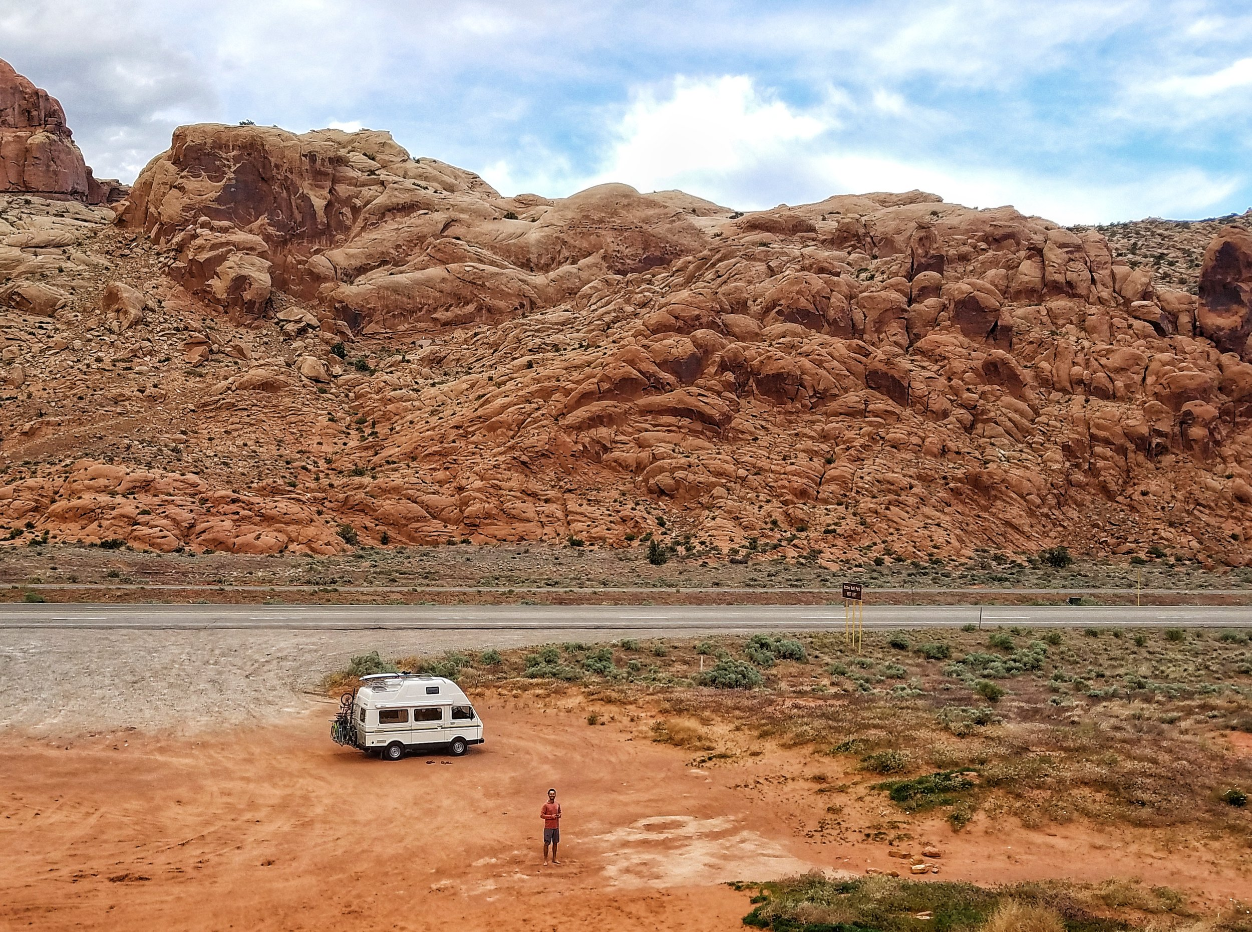 Stop 1: three hours into our road trip we paused in Moab, Utah at the sand dune outside Arches National Park. A great place to stretch legs, get the heard pumping, and to enjoy PB&J sandwiches