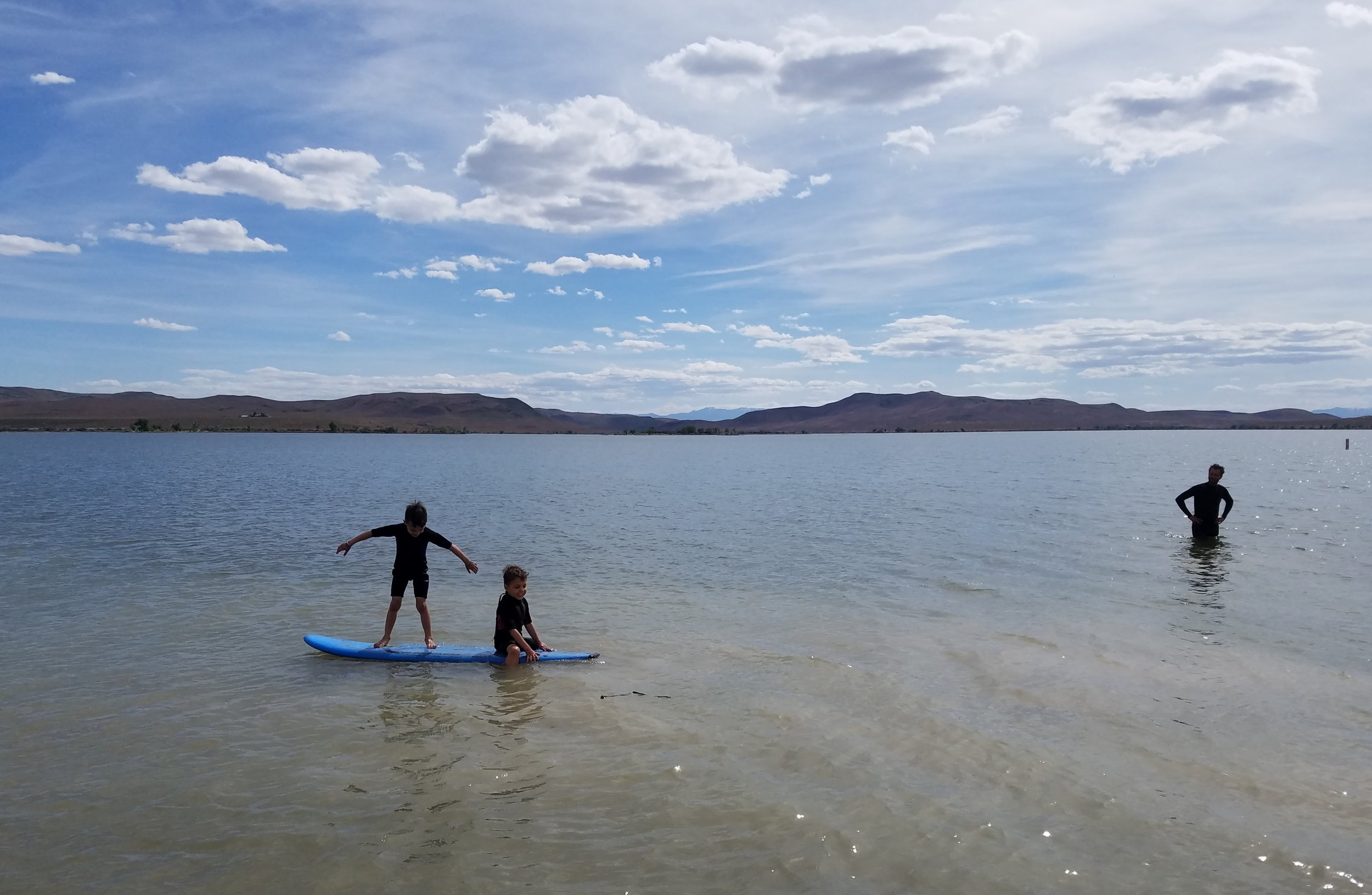 Testing out the new wetsuits at our campsite at Lahontan State Rec Area