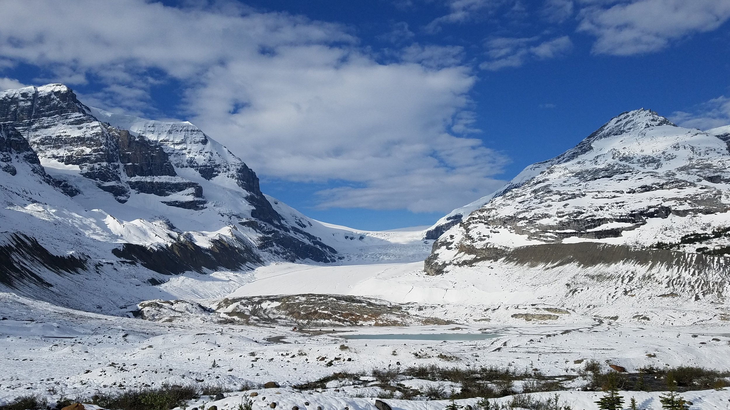 The following morning we were back to witness a sunny view of the Athabasca Glacier