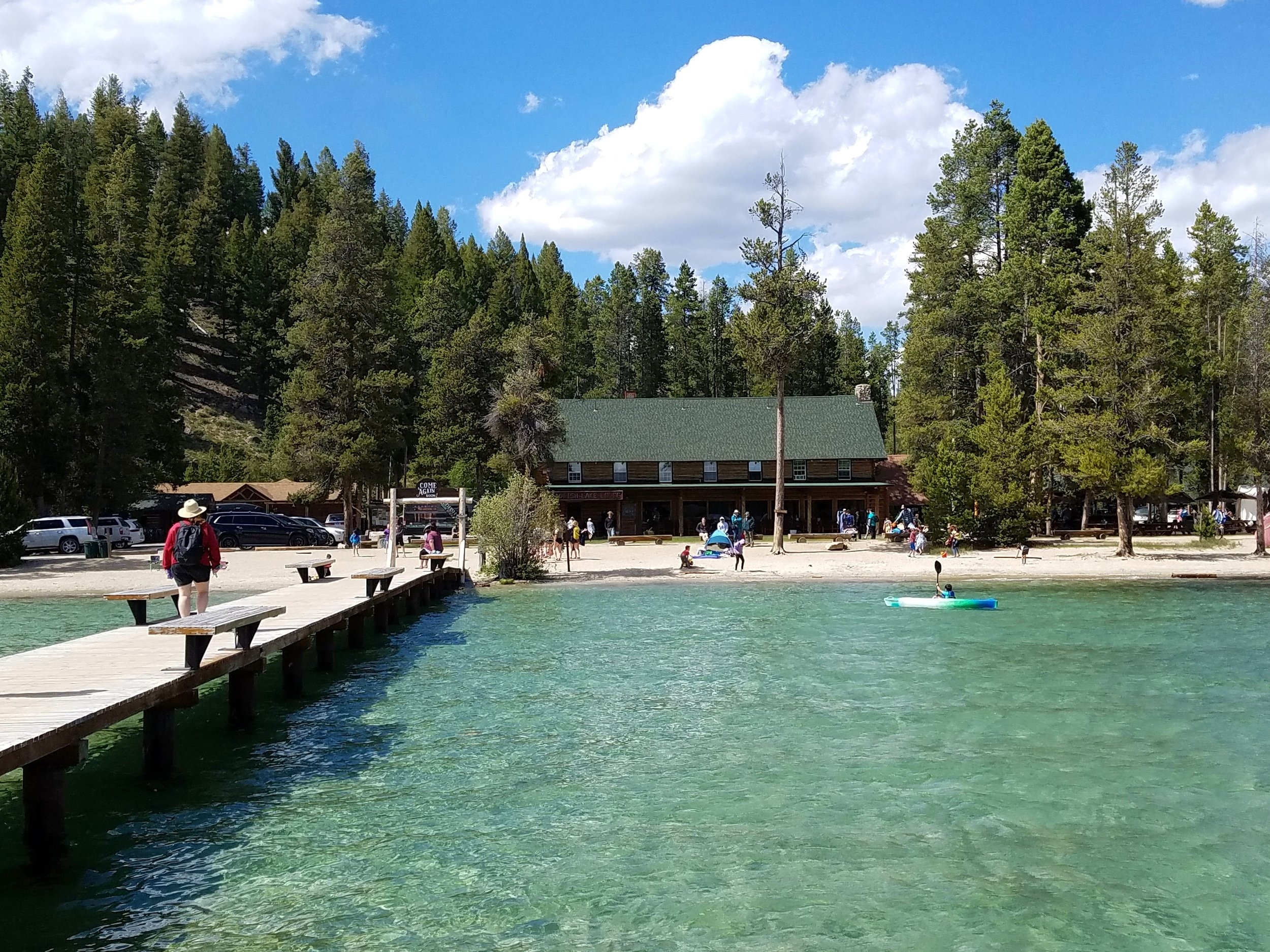 A view of Redfish Lake Lodge and beach from the marina docks