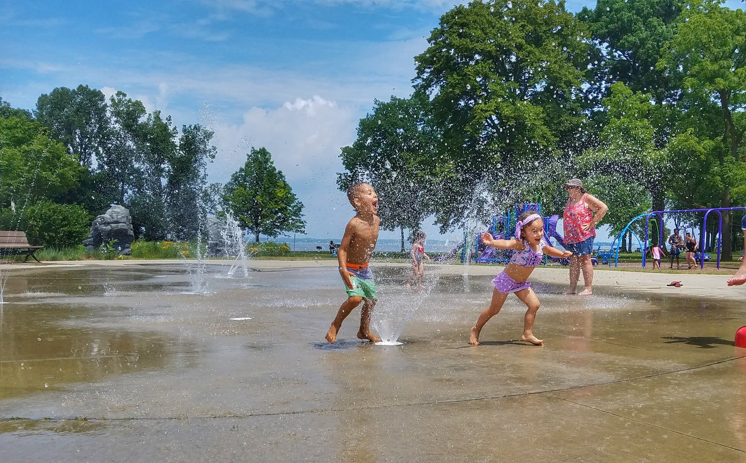 Reid and Penelope clearly enjoying the Splash Pad