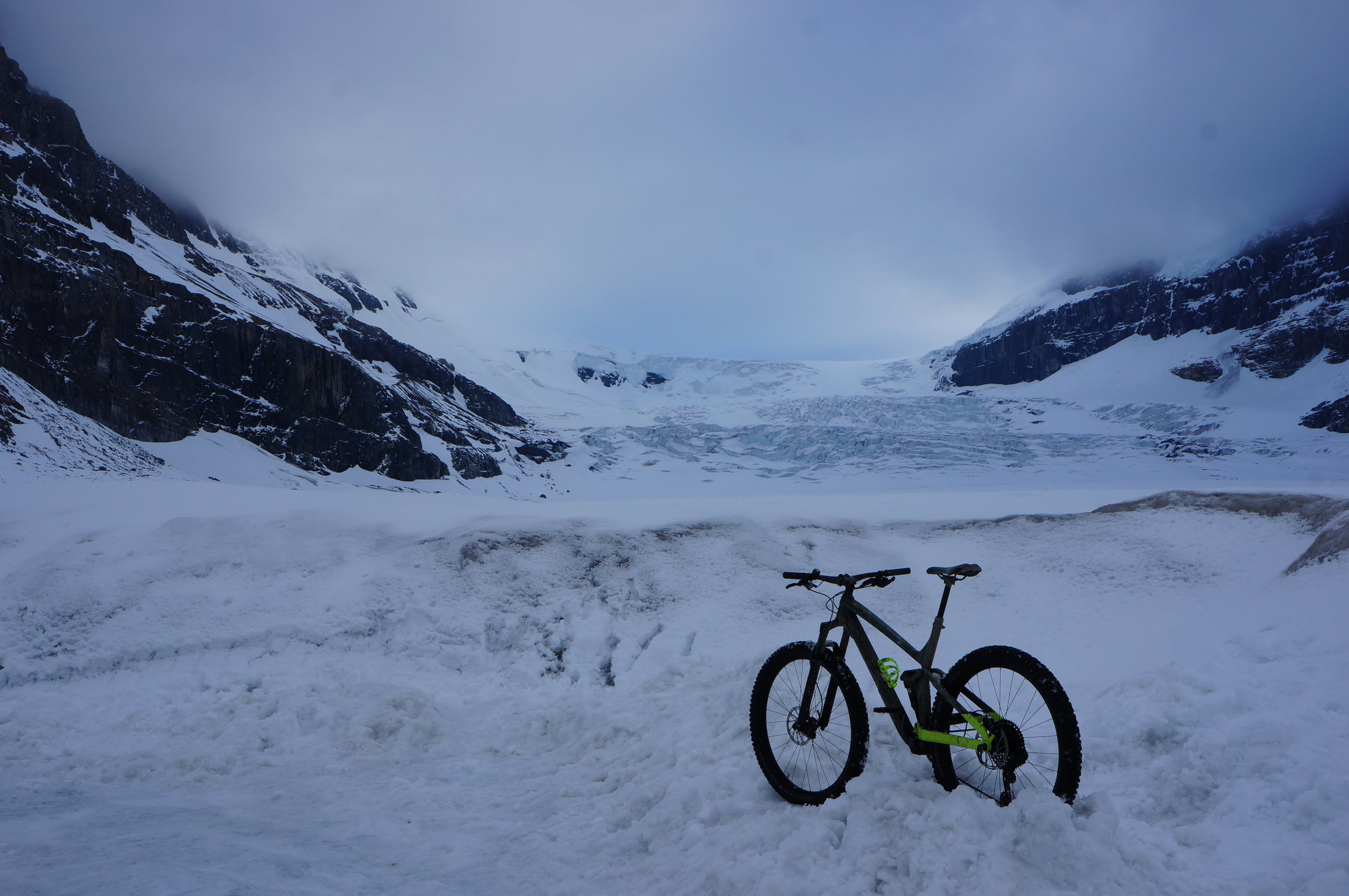 Chip snuck away one evening to mountain bike back up to the glacier! I won't tell you how fast he rode on the way down…on ice…