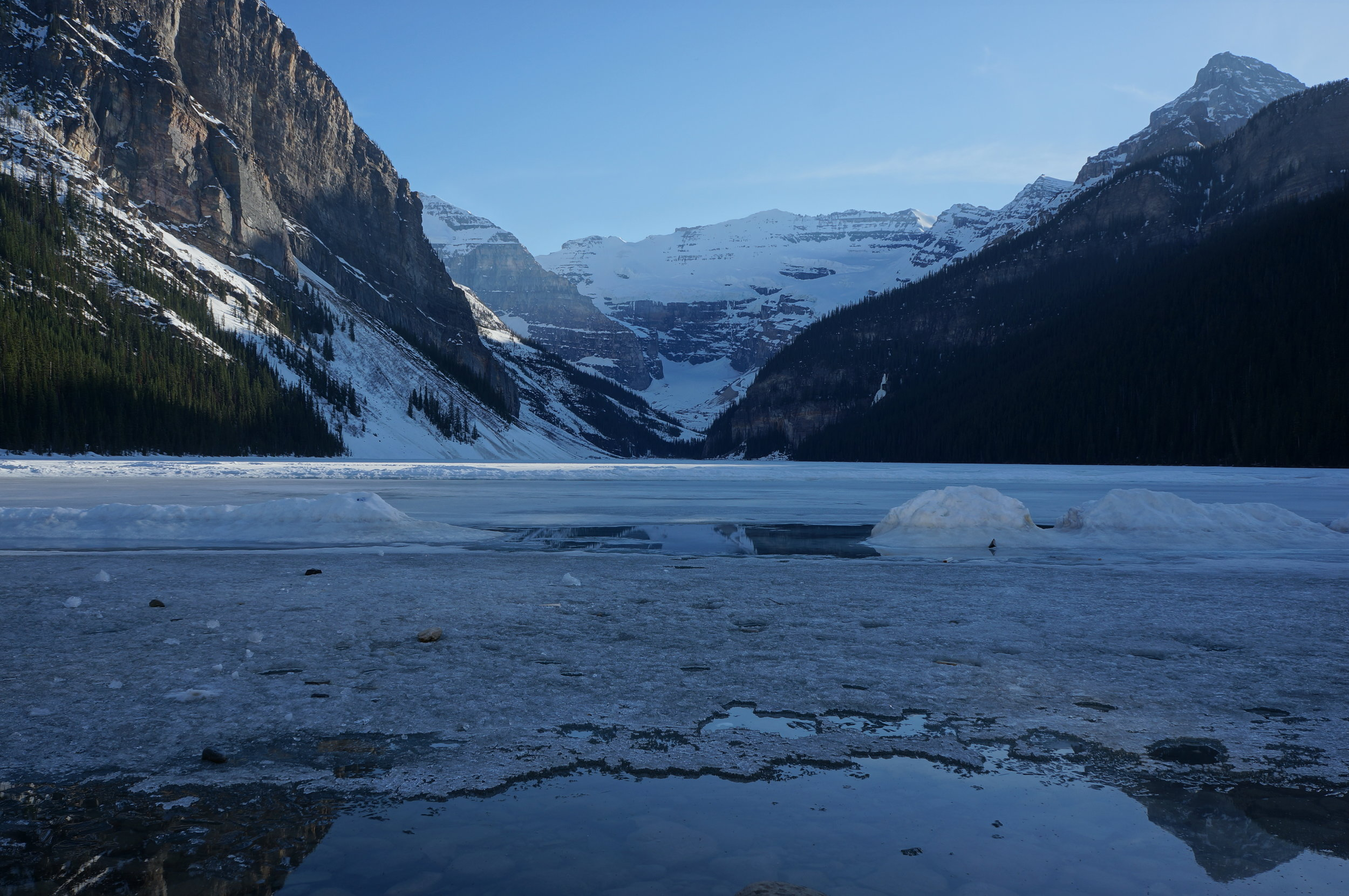 Our photo from our May 2012 visit to Lake Louise. Still frozen!