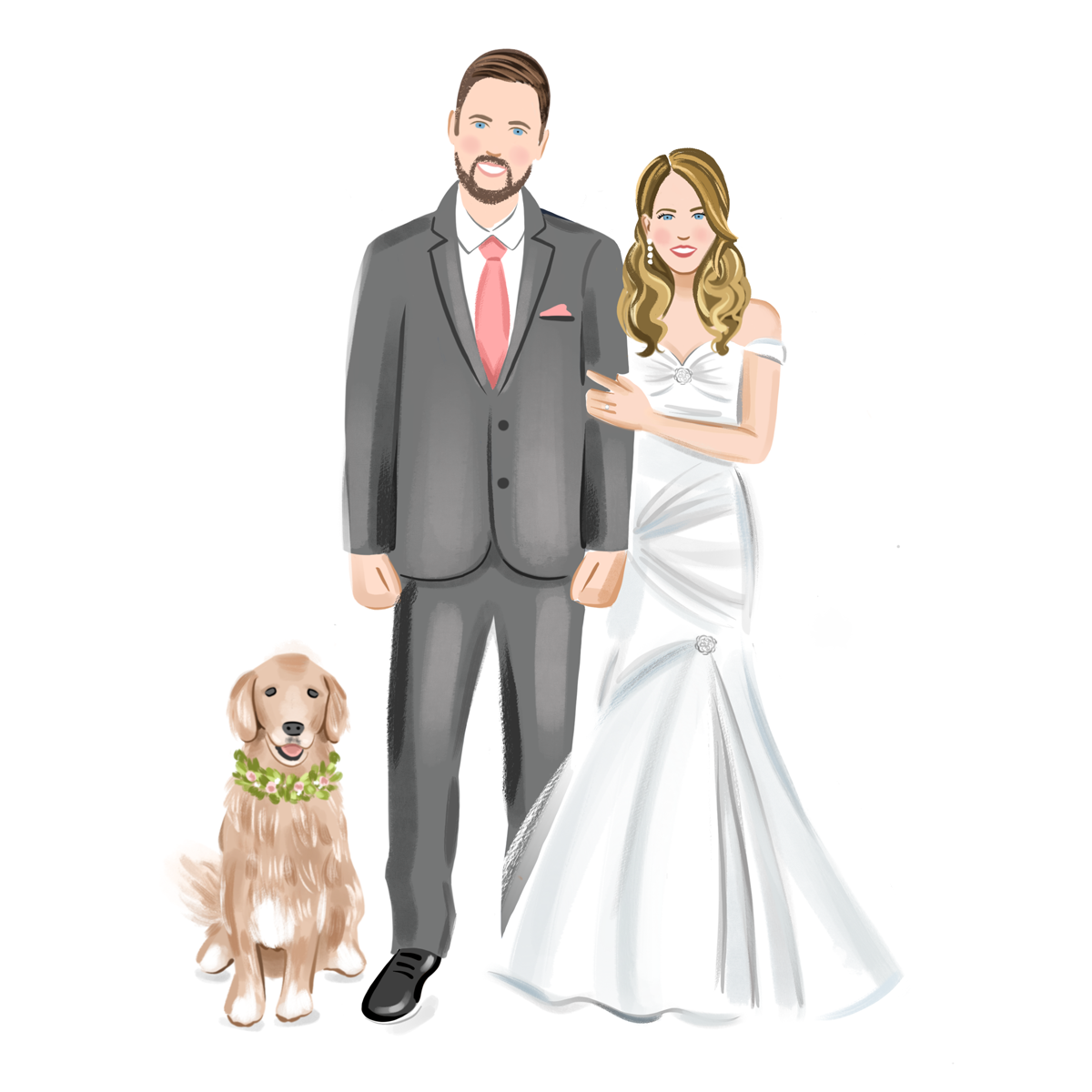 Bride and Groom Illustration