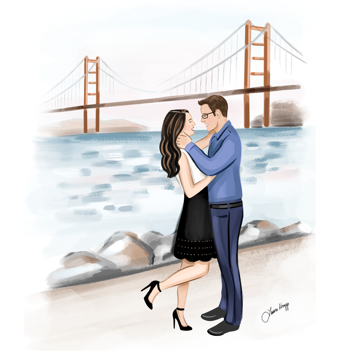 Save the Date Couple Illustration