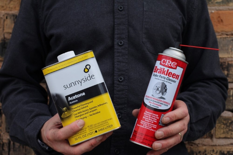Acetone and Brake Parts Cleaner are two popular methods of removing grease and oils.