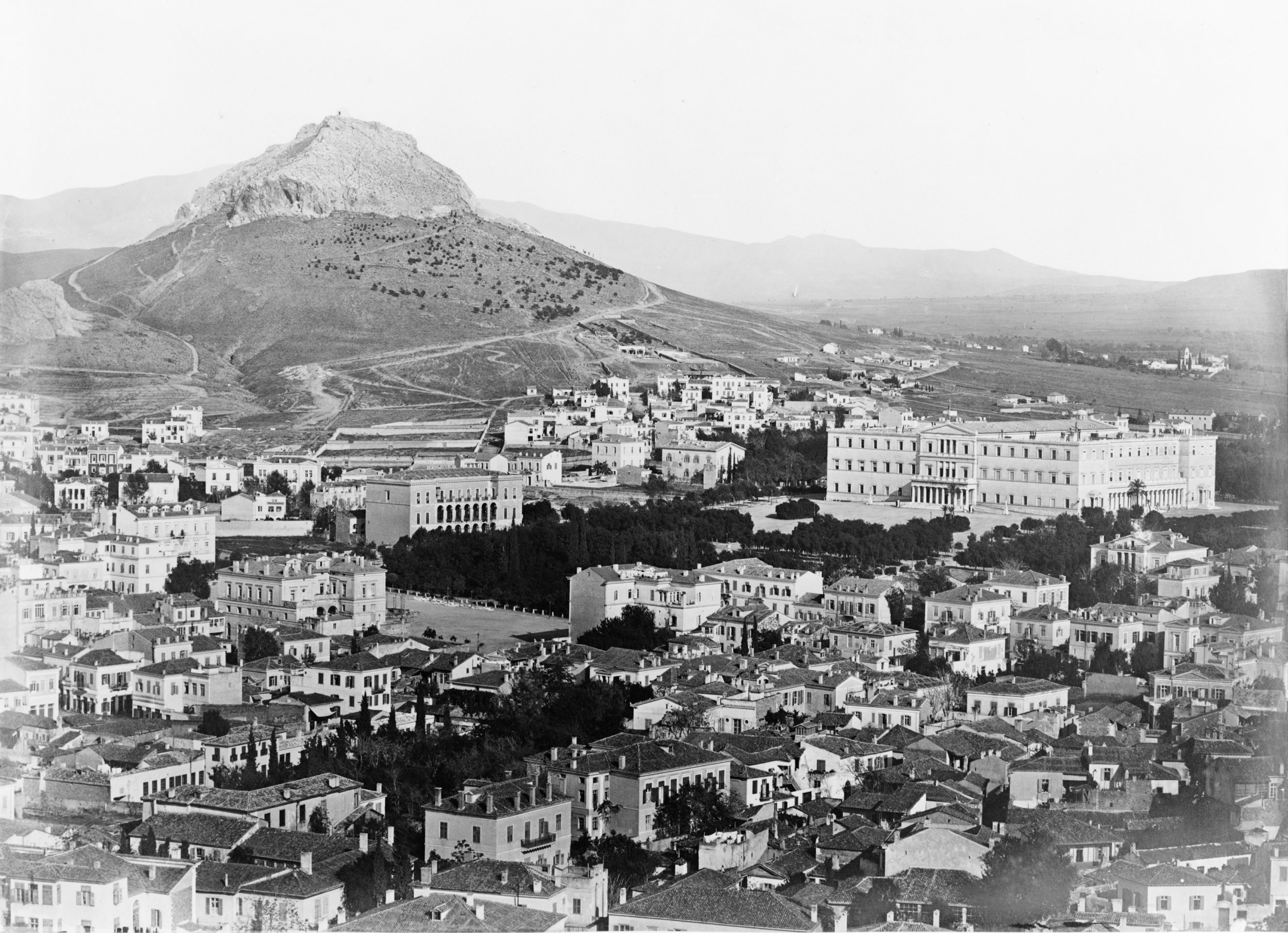 Panoramic view of Athens showing the Old Royal Palace and Mount Lycabettus, taken between 1850 and 1880. Courtesy of the Library of Congress.
