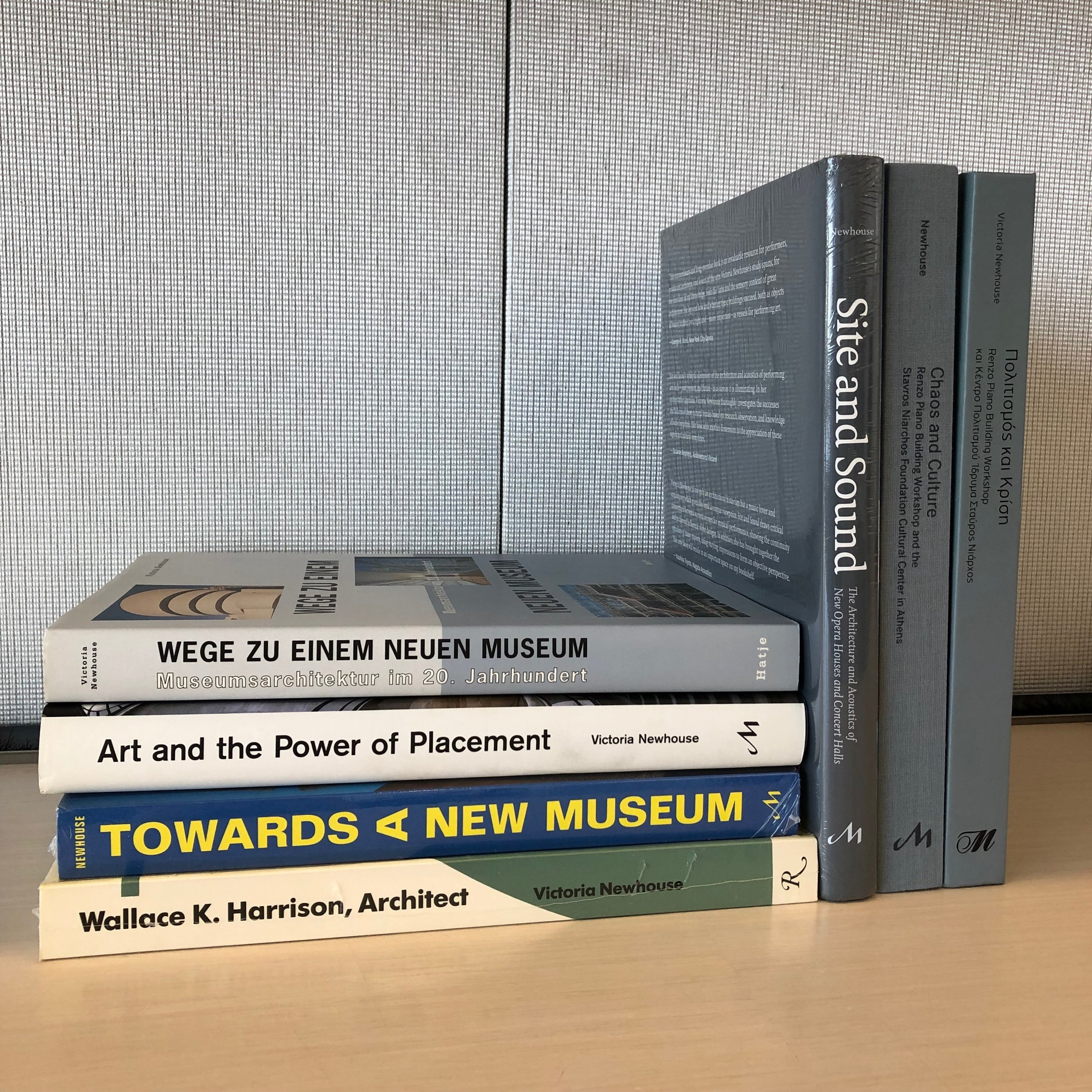 Books written by Victoria Newhouse at her One World Trade Center office. Courtesy of Victoria Newhouse.