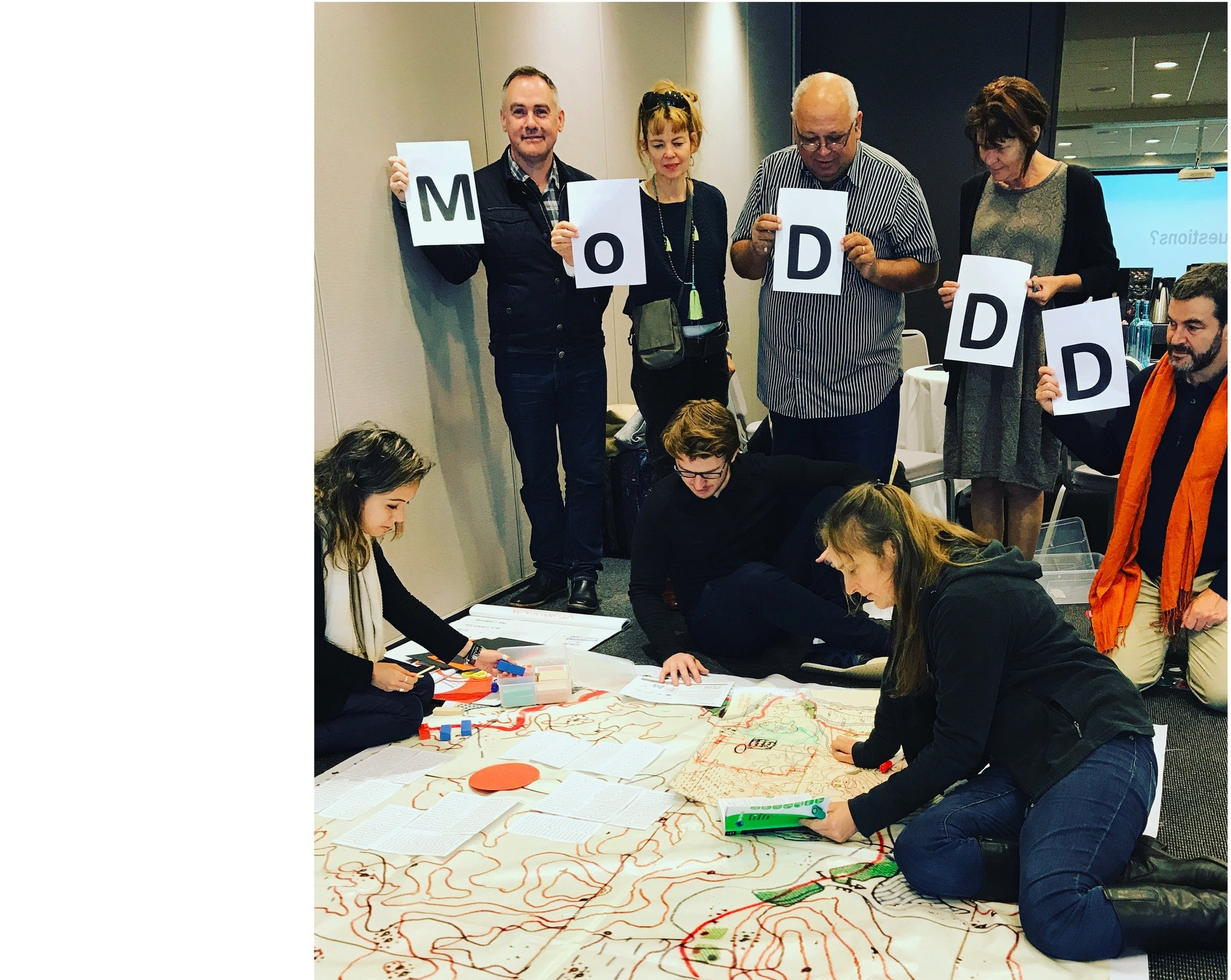 Charlesworth and faculty participating in a mapping workshop, Master of Disaster, Design and Development (MODD) program, RMIT University. Courtesy of Esther Charlesworth.