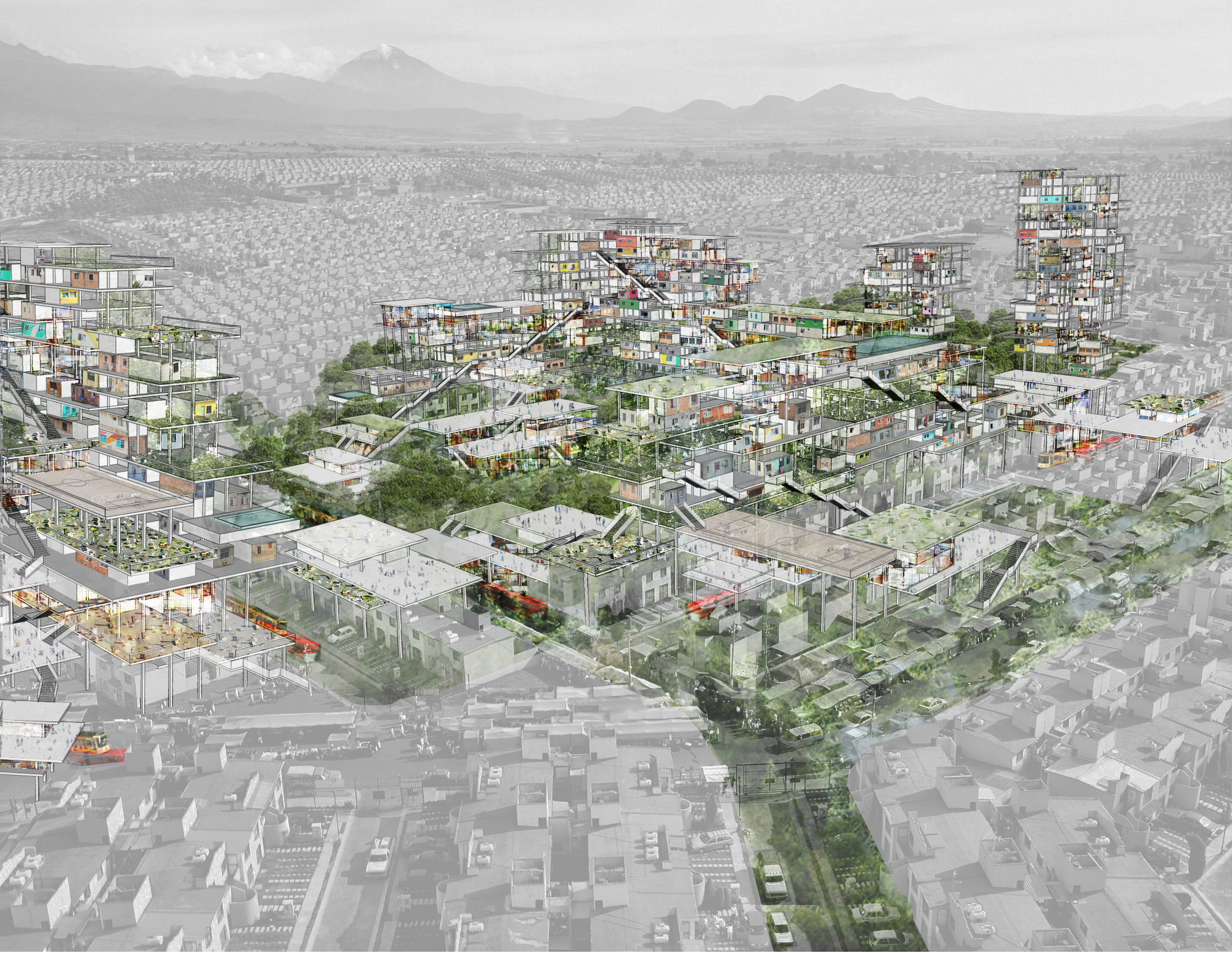 Palacio Social, 2016. This conceptual project seeks to address the more than 5 million abandoned houses in Mexico, the informal economy that contributes to sprawling housing development, and the vast majority (90%) of single-family housing stock. The project is a critical response to these converging factors and their impact on Mexico's urban extended growth model. Courtesy of Fernanda Canales.