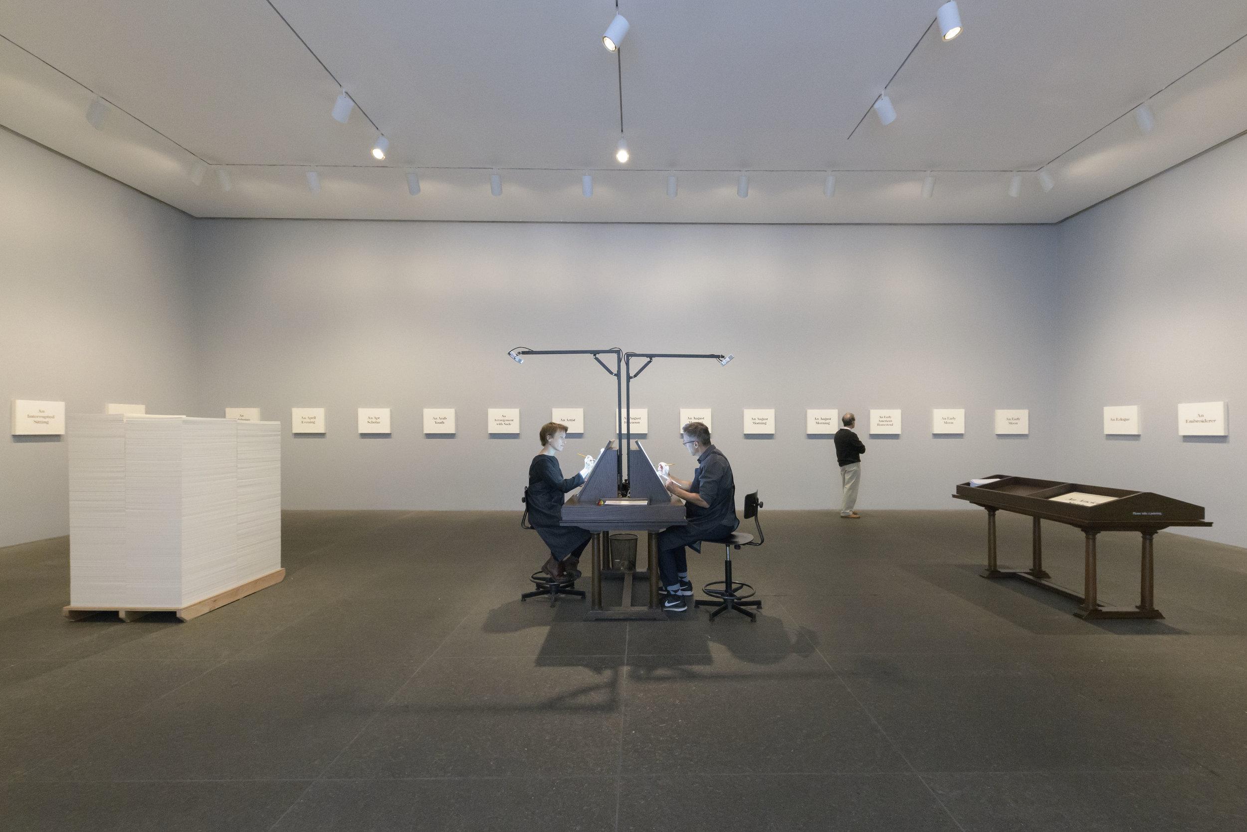 Installation view. Lenka Clayton and Jon Rubin, 2018,  57th Carnegie International.  © Carnegie Museum of Art, Pittsburgh. Photo: Bryan Conley.