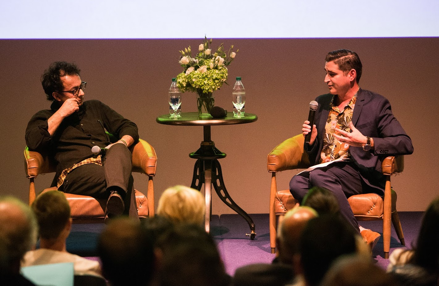 Artist Lecture with Farhad Moshiri (left) and José Carlos Diaz (right). Photo by Sean Carroll.
