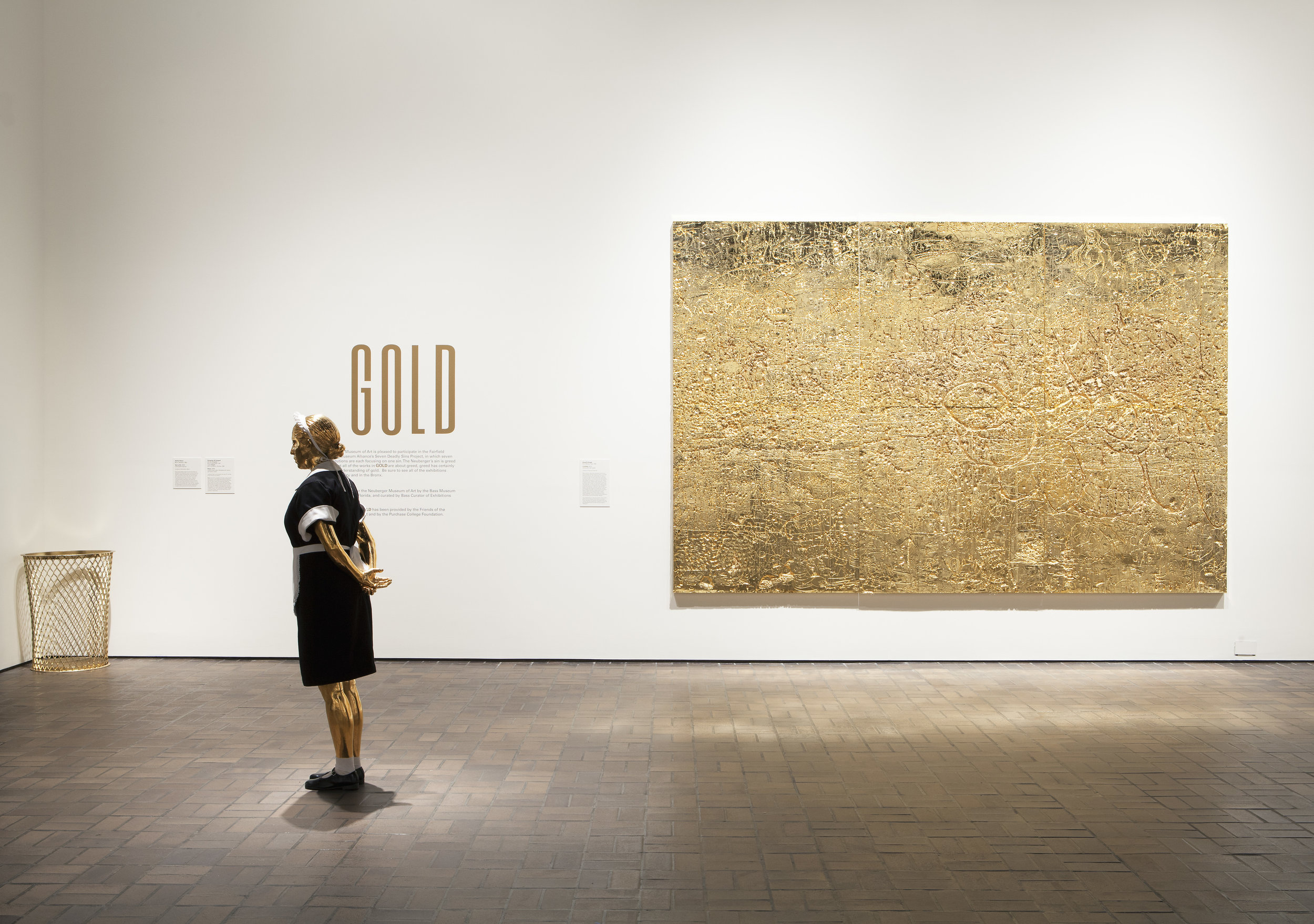 GOLD  exhibition at the Neuberger Museum of Art in Purchase, New York 2015. The show traveled to the Neuberger after headlining at The Bass Museum in Miami. Courtesy José Carlos Diaz