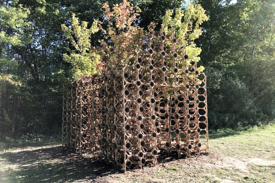 Created in collaboration with designer Martin Miller under the banner of OMG!, Primitive Hut in Ghent, N.Y., is made, in part, of a lattice of bio-resin, hemp, and sawdust that will eventually decompose. Courtesy: Michael Jefferson