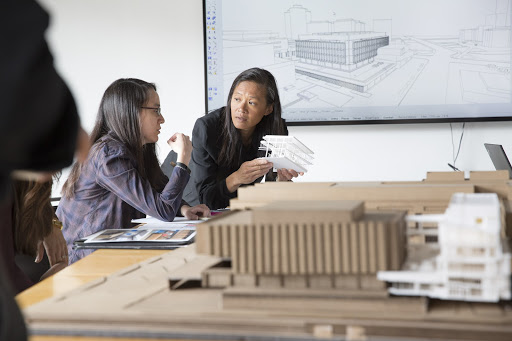 Anne Chen discussing the renovation of University of Pittsburgh's Hillman Library. Courtesy GBBN.