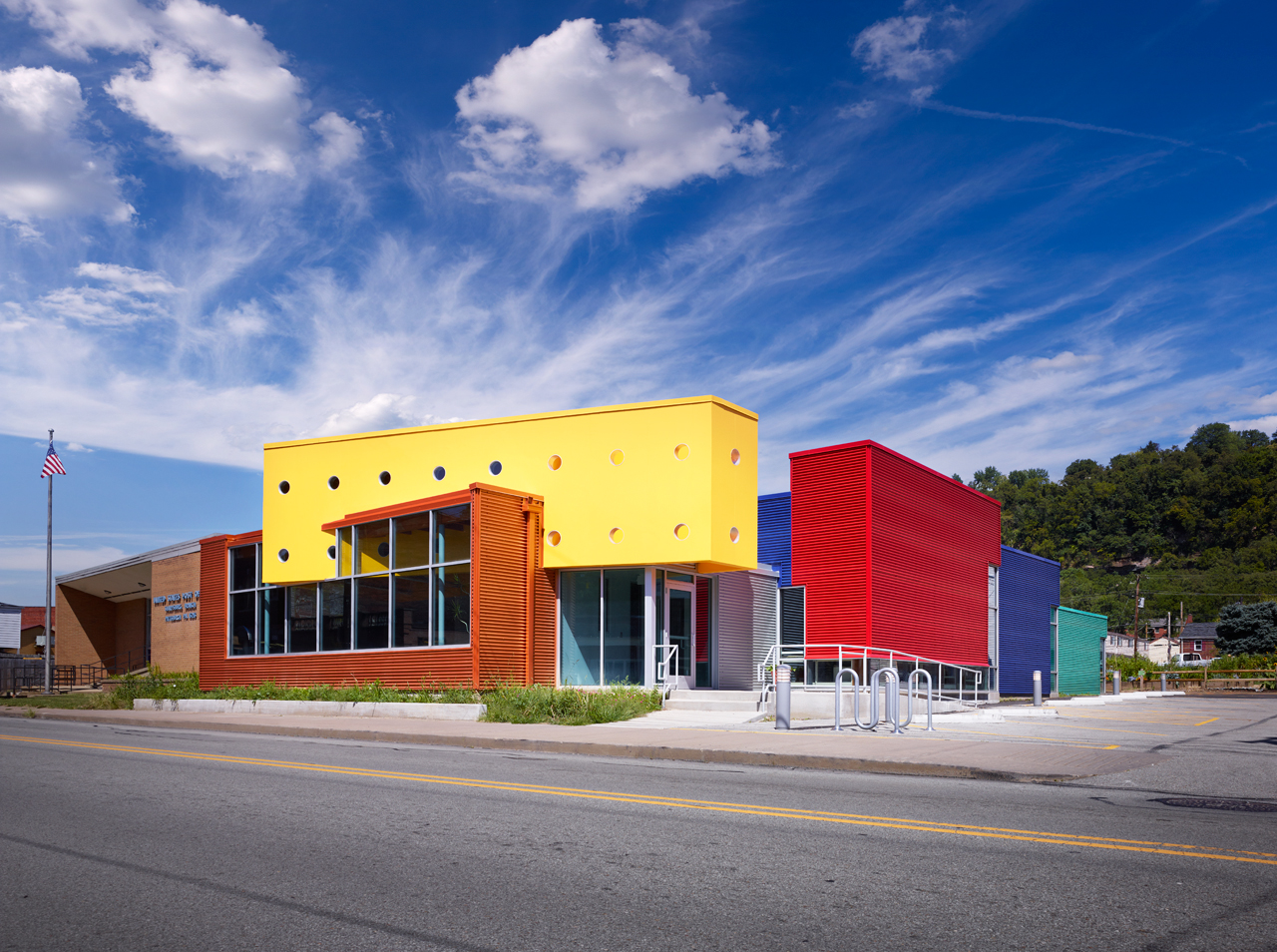 Sharpsburg Community Library, exterior view of the entrance. Photo by Ed Massery. Courtesy Front Studio.
