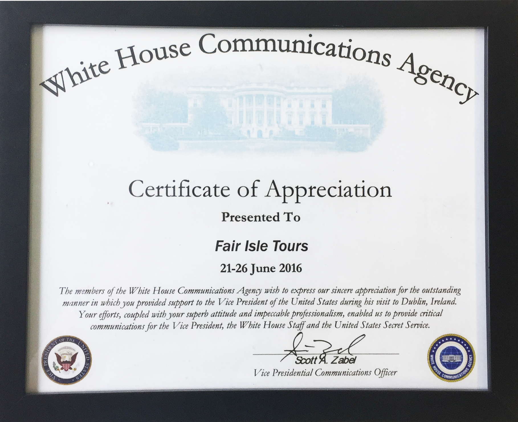 White House Communications Agency, Certificate of Appreciation June 2016