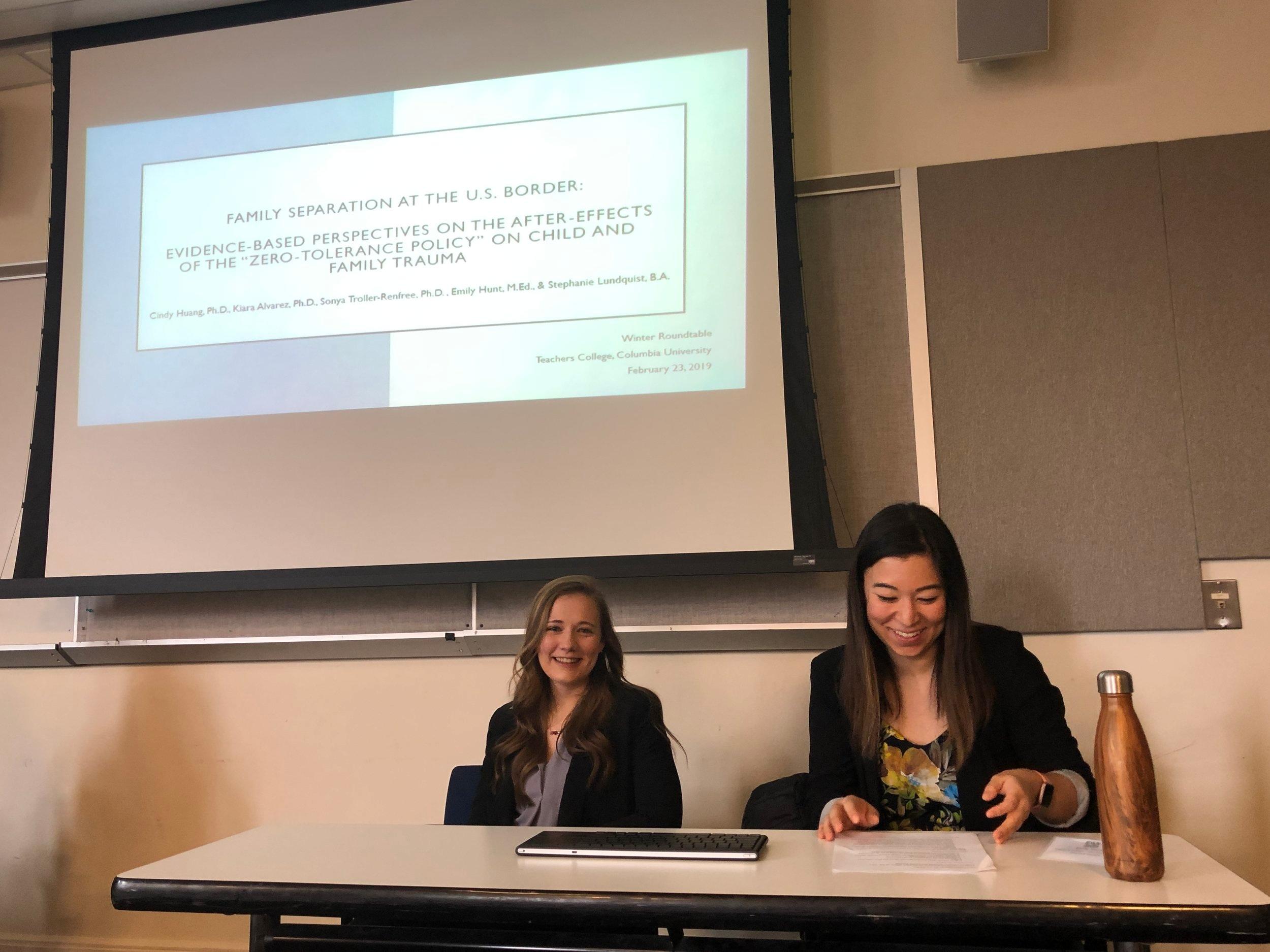 """Family Separation at the U.S. Border"" - — Stephanie L. and Emily H. facilitating Dr. Cindy Huang and Dr. Kiara Alvarez's symposium."