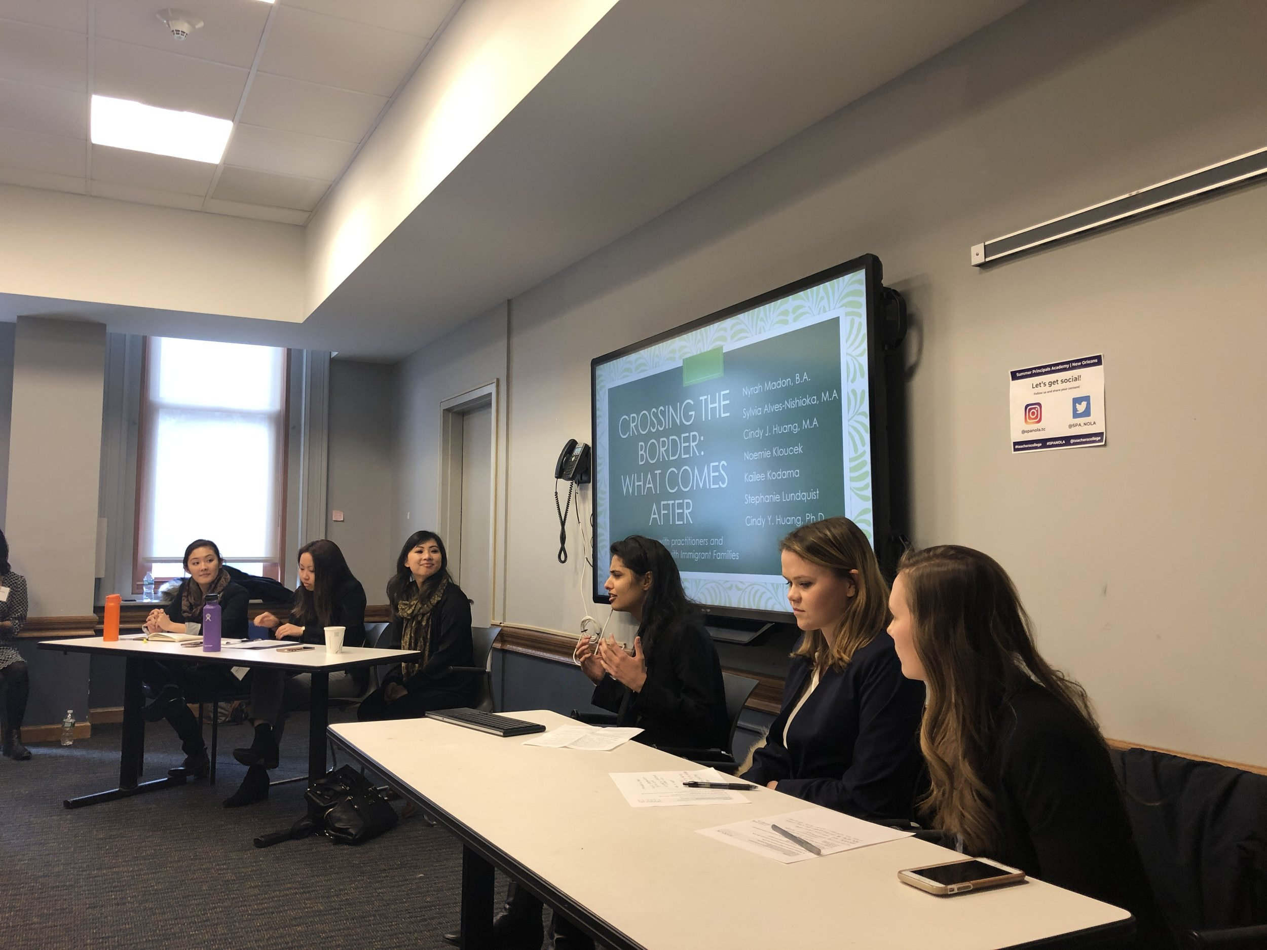 """""""Crossing the Border: What Comes After"""" - Nyrah M. introducing and leading the roundtable discussion with Kailee K., Cindy H., Noemie K., and Stephanie L."""
