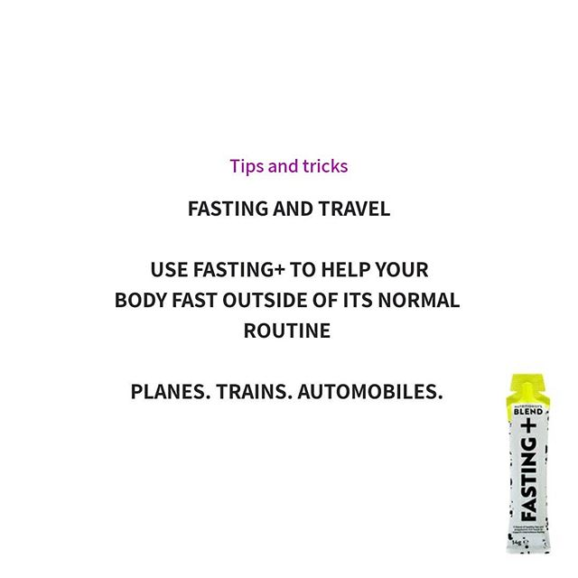 Travelling can be a brilliant time to fast.  It can help you avoid a myriad of unhealthy food choices and help your body adjust to any changes in time zone ✈ 🚉 🚘  As those fasting times tend to be outside of your normal routine, a helping hand from FASTING+ could be just the ticket 🎫  #fastingandtravel #planestrainsautomobiles #intermittentfastinglifestyle #intermittentfastingtips #intermittentfastingsupport#intermittentfasting #nutritionistsblend #fastingplus #healthyfat #fastingmimetics