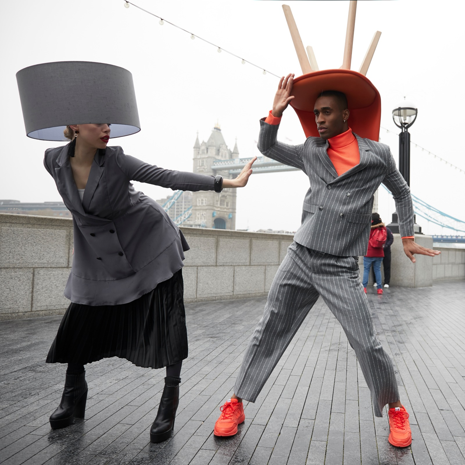 Models from Argos pose during the London Hat Walk 2019..jpeg