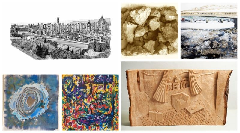 From the top left, clockwise: Torri di Firenze by Anna Gibb / 54 Million by Alison Cooke / London Bridge by Adrian Flaherty / Left (with suitcase) by Cameron Scott / Mapping by Aasiri Wickremage / Iced Puddle by Ann Dickie