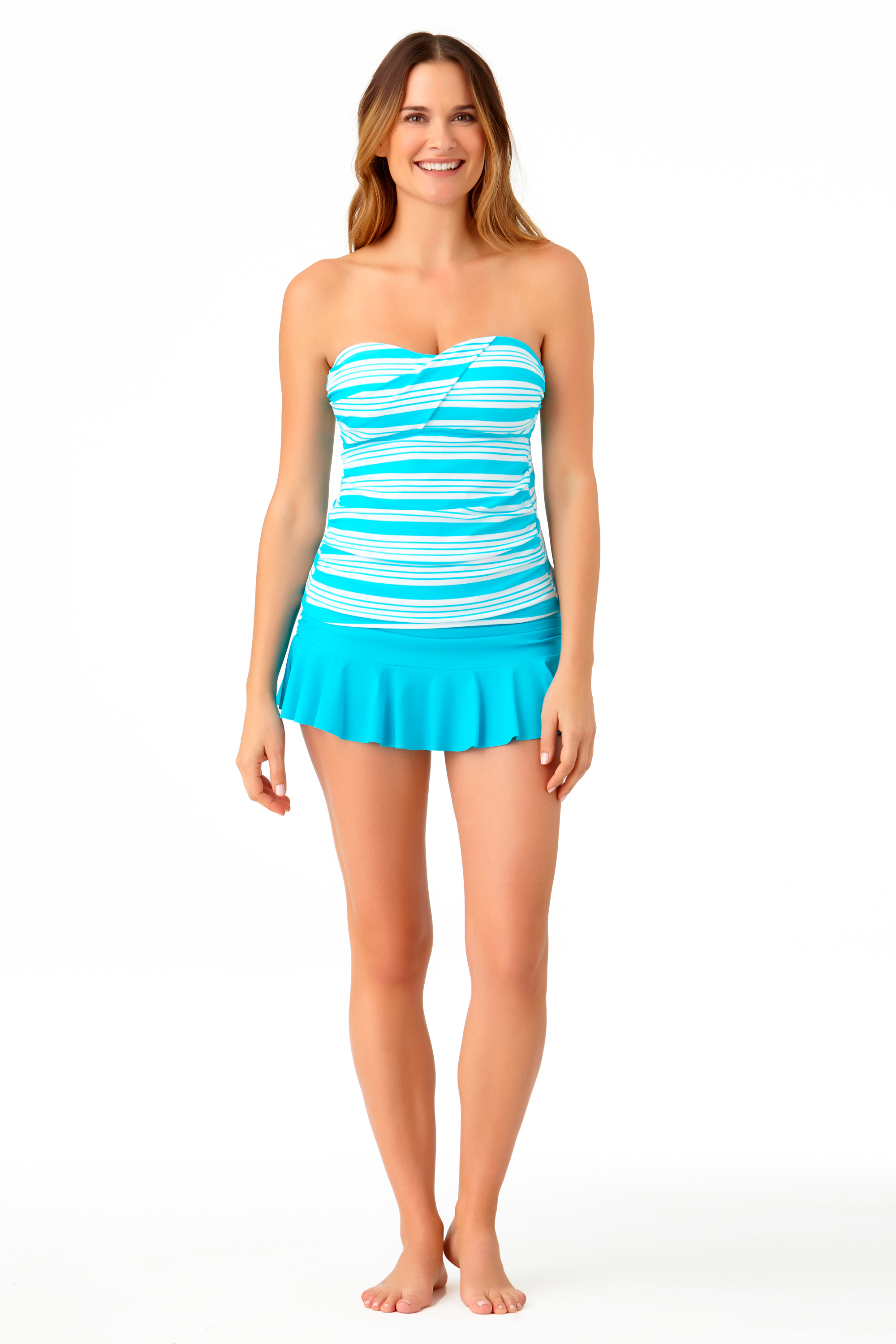 STYLE # CTL27401T / CTL27502B - Melbourne Stripe Twist Bandini TopSOLD OUTSolid Ruffle Skirted BottomSOLD OUT