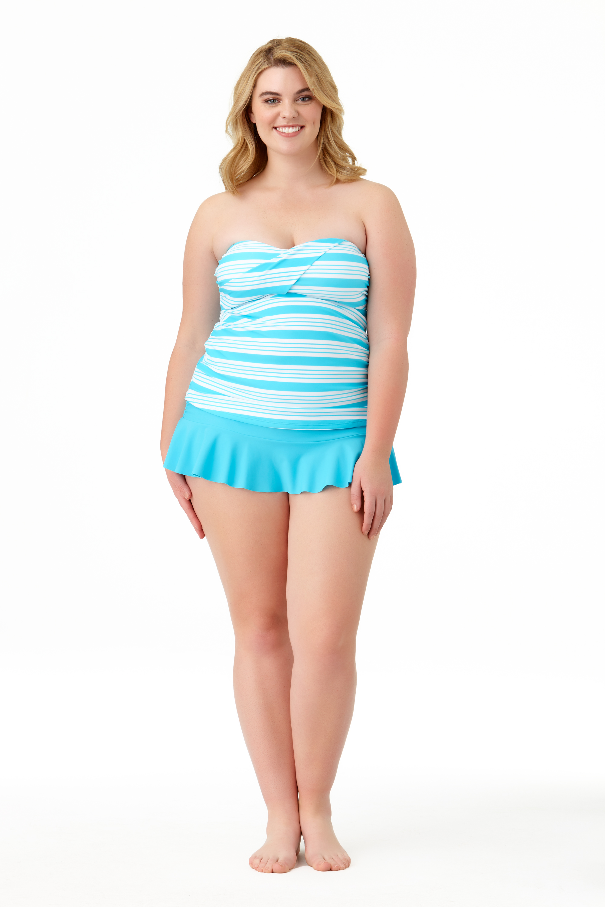 STYLE #CTP27401T /CTP27700B - Melbourne Stripe Twist BandiniSOLD OUTSolid Ruffle Skirted BottomSOLD OUT