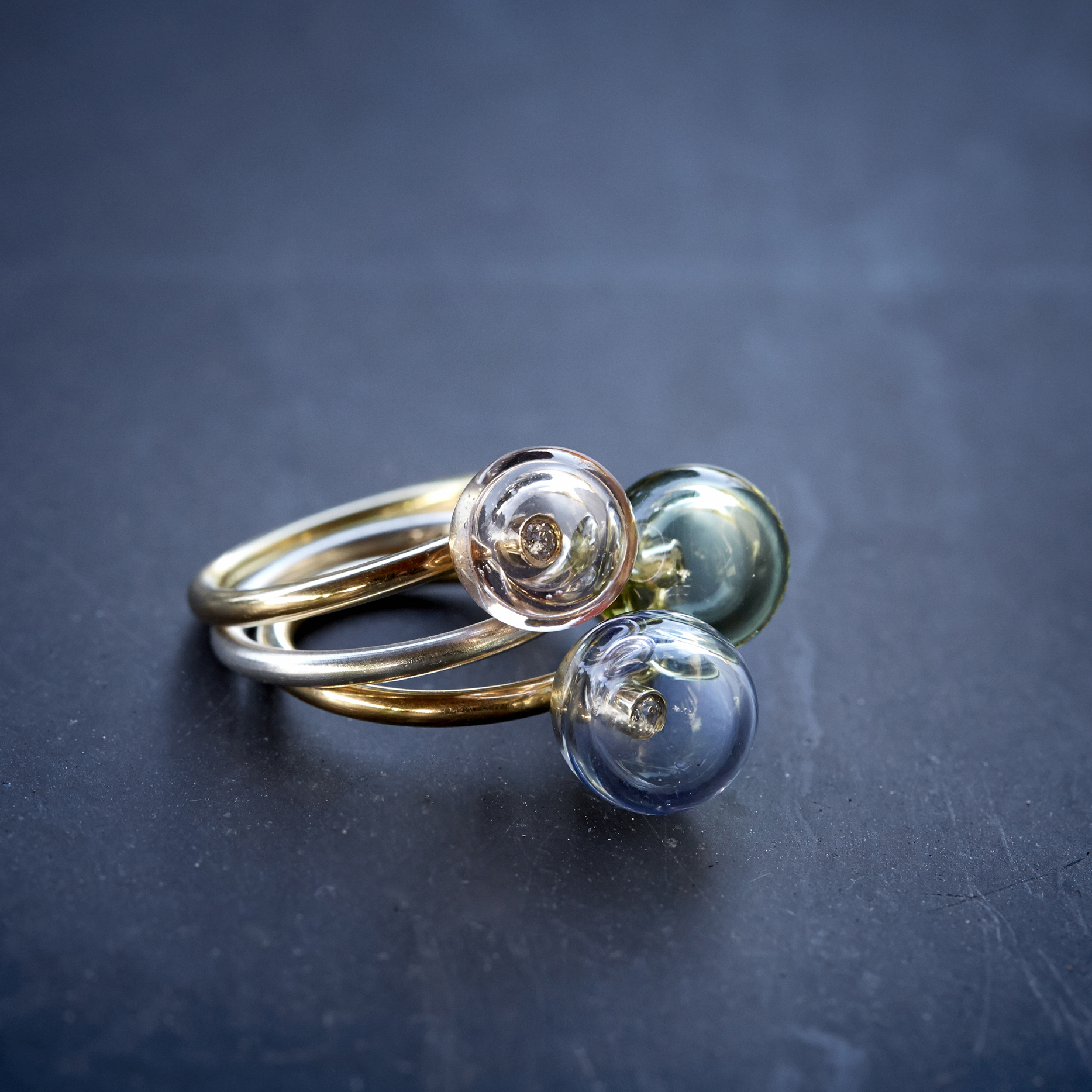 Bubble rings; silver, gold, glass, diamonds