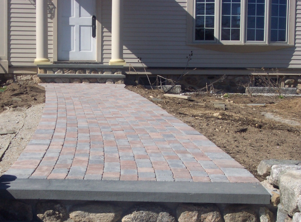 Stunning paver walkway installed by landscaper in Laconia, NH