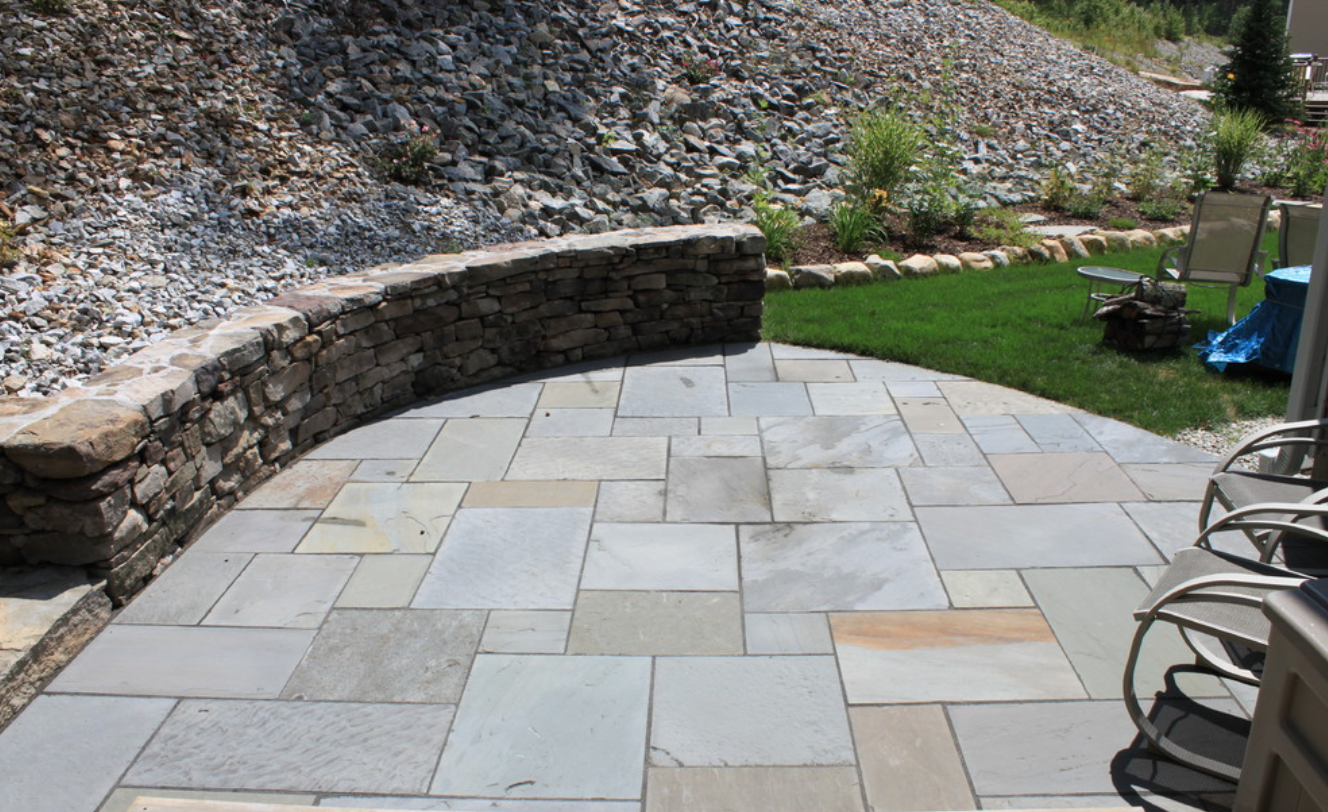 Paver patio landscape design in Newton, MA