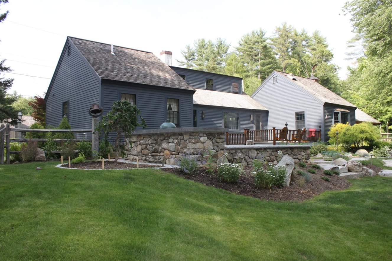 Landscape design with masonry in Westford, NH