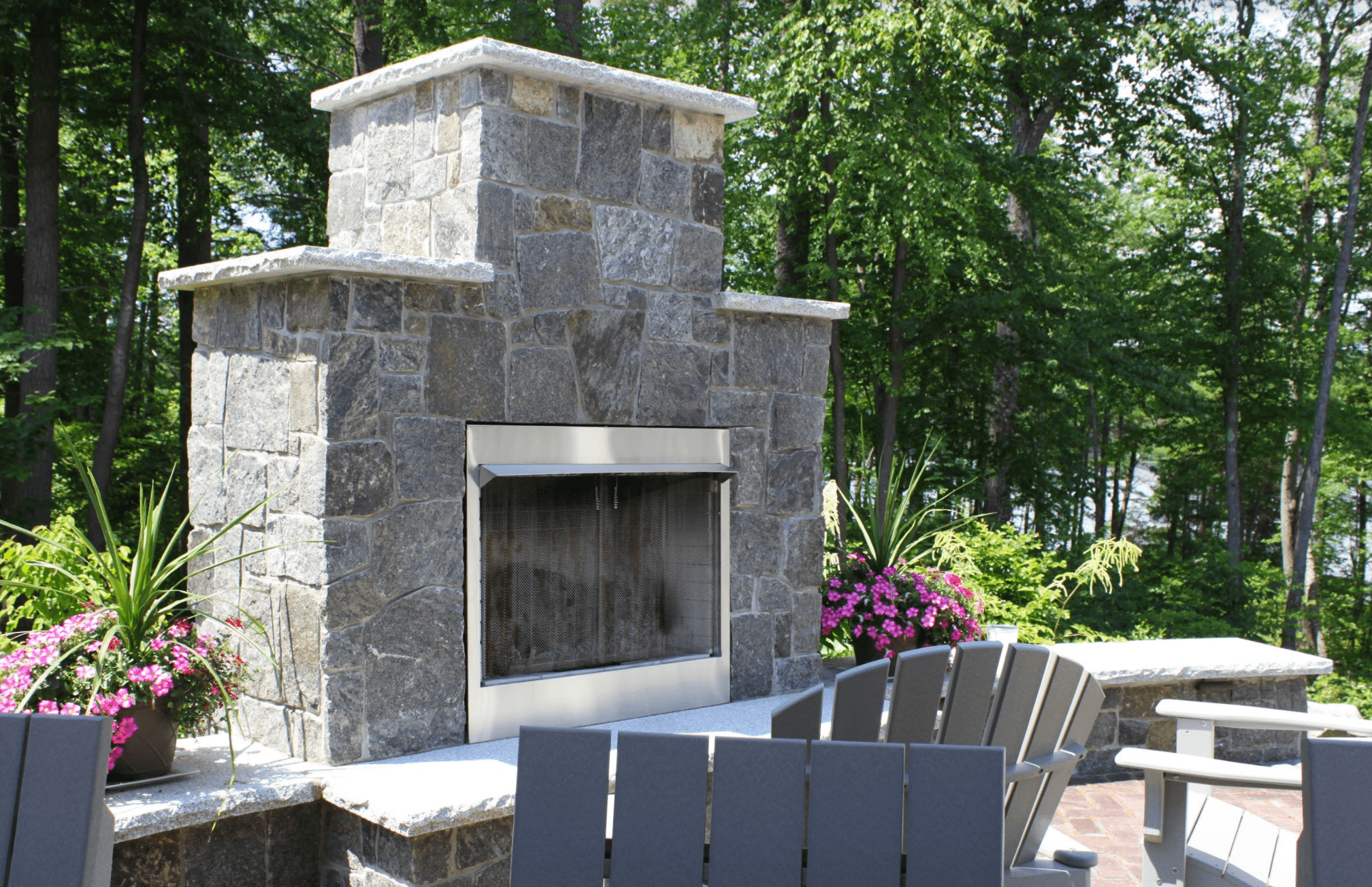 Milford, NH beautiful masonry with outdoor fireplace