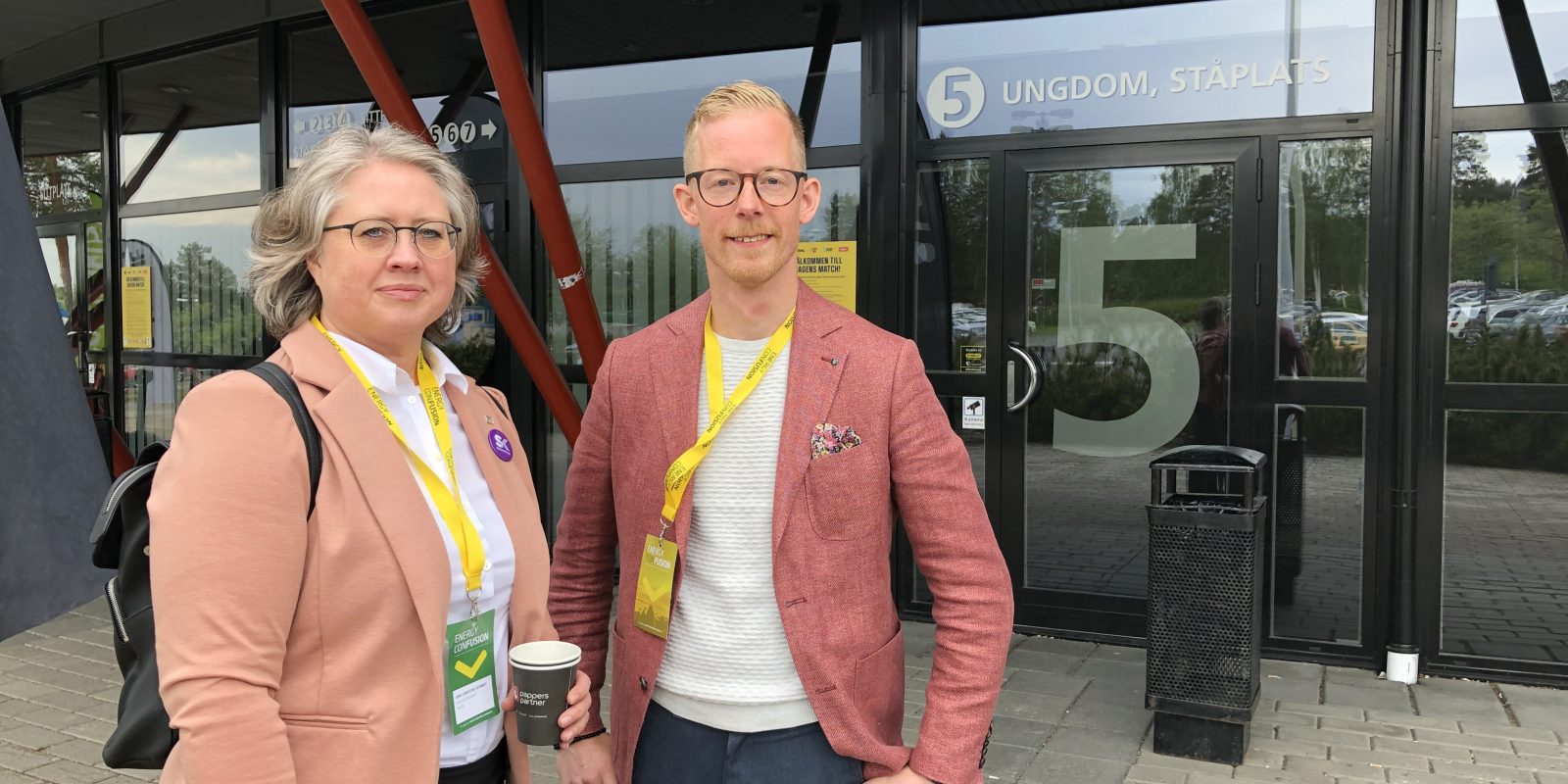 Ann-Christine Schmidt from Skellefteå Kraft and Johan Granström from ABB met startups during the Energy ConFusion conference in Skellefteå. Photo: Uminova Innovation