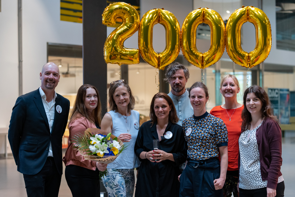 Stina Lantz celebrated the milestone together with part of the Ignite Sweden team.  From left to right: Christian Malmsten, Stina Lantz, Katarina Fégeant, Mikaela Färnqvist, Fredrik Blomquist, Karin Bengtsson, Linda Krondahl & Maite Bellón.