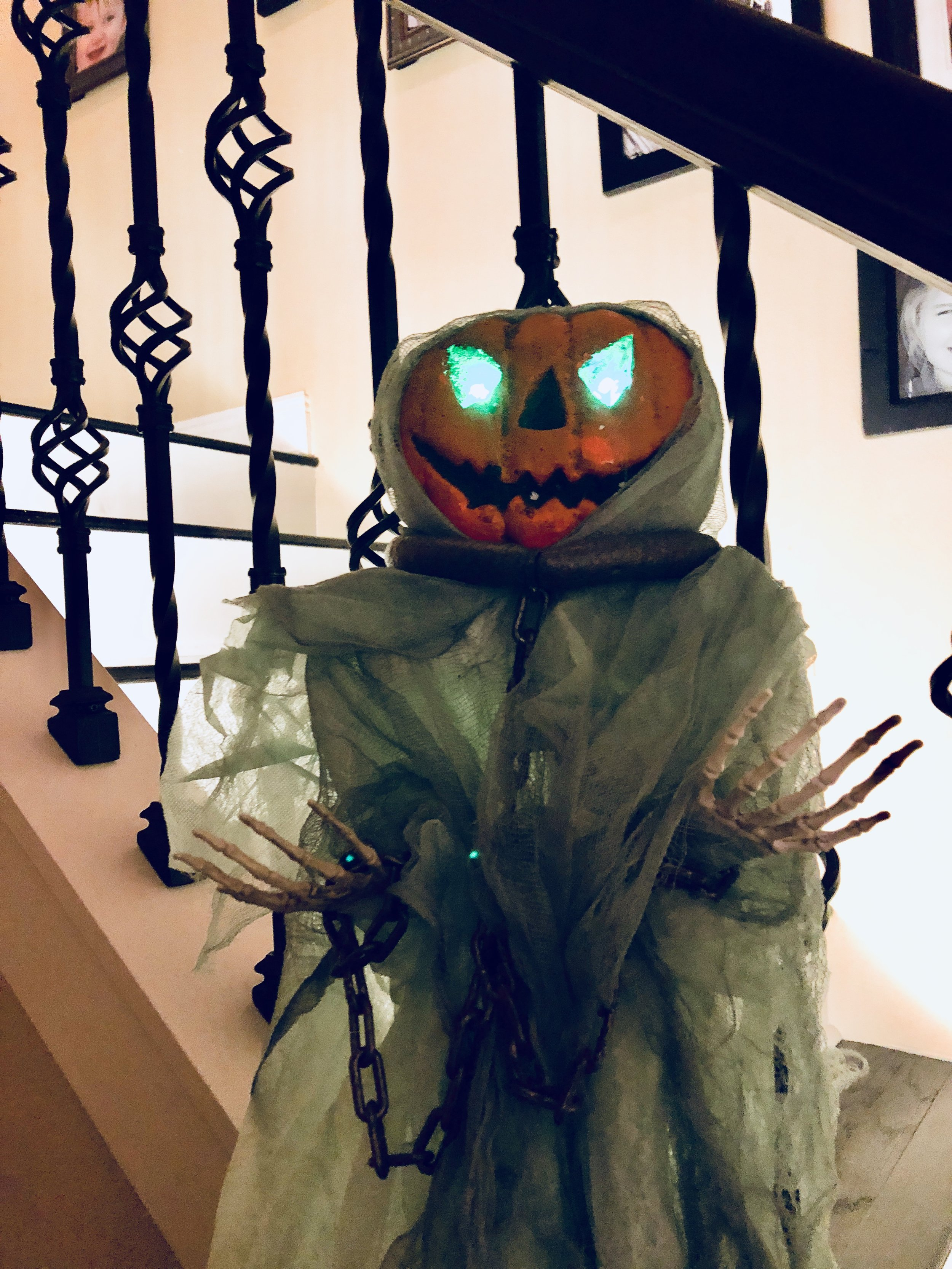 We've had this scarecrow for years - I love how creepy it is :)  One similar   here   from Target