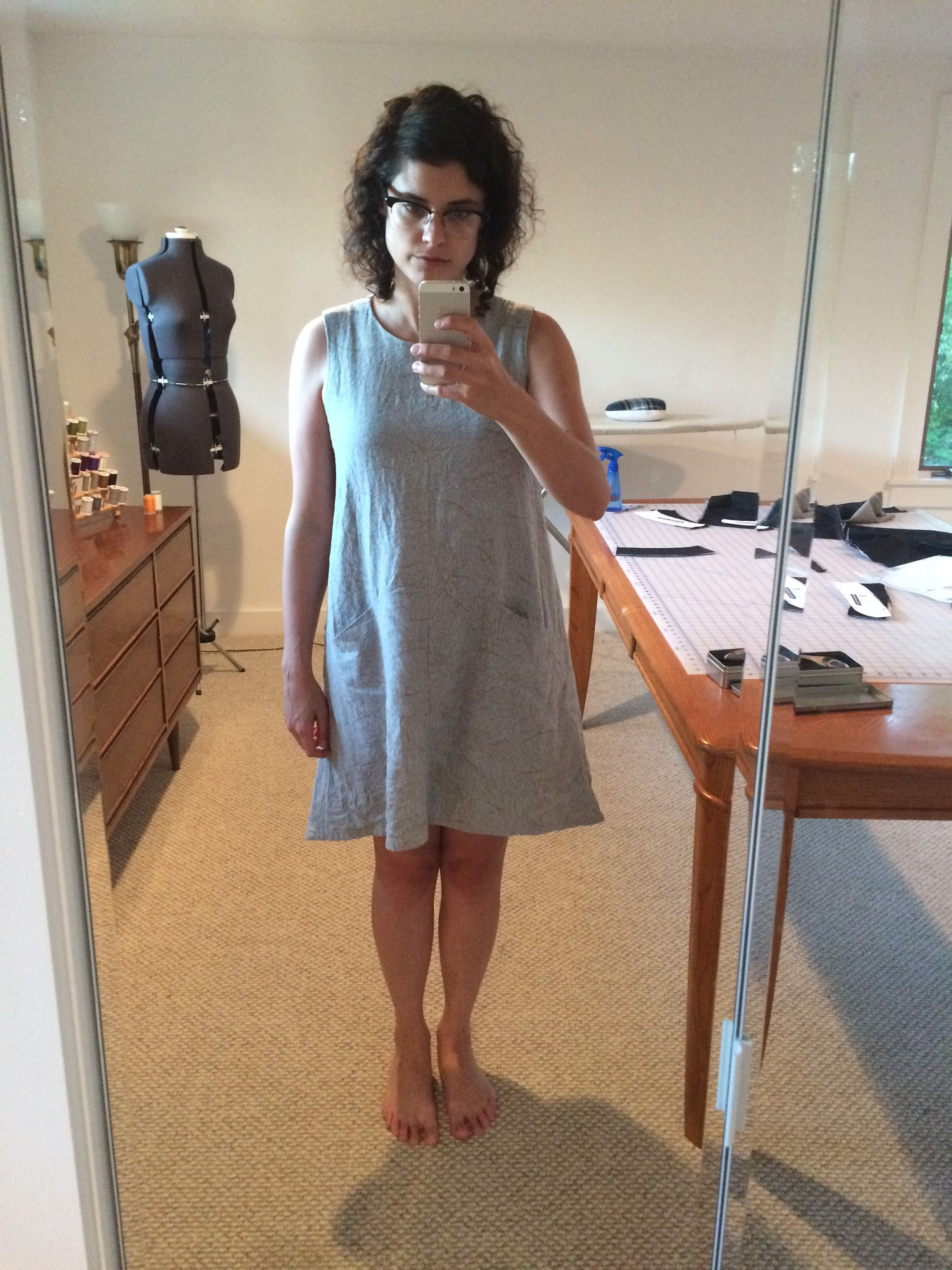 Linen blend Farrow dress is really comfortable but not particularly flattering or my style