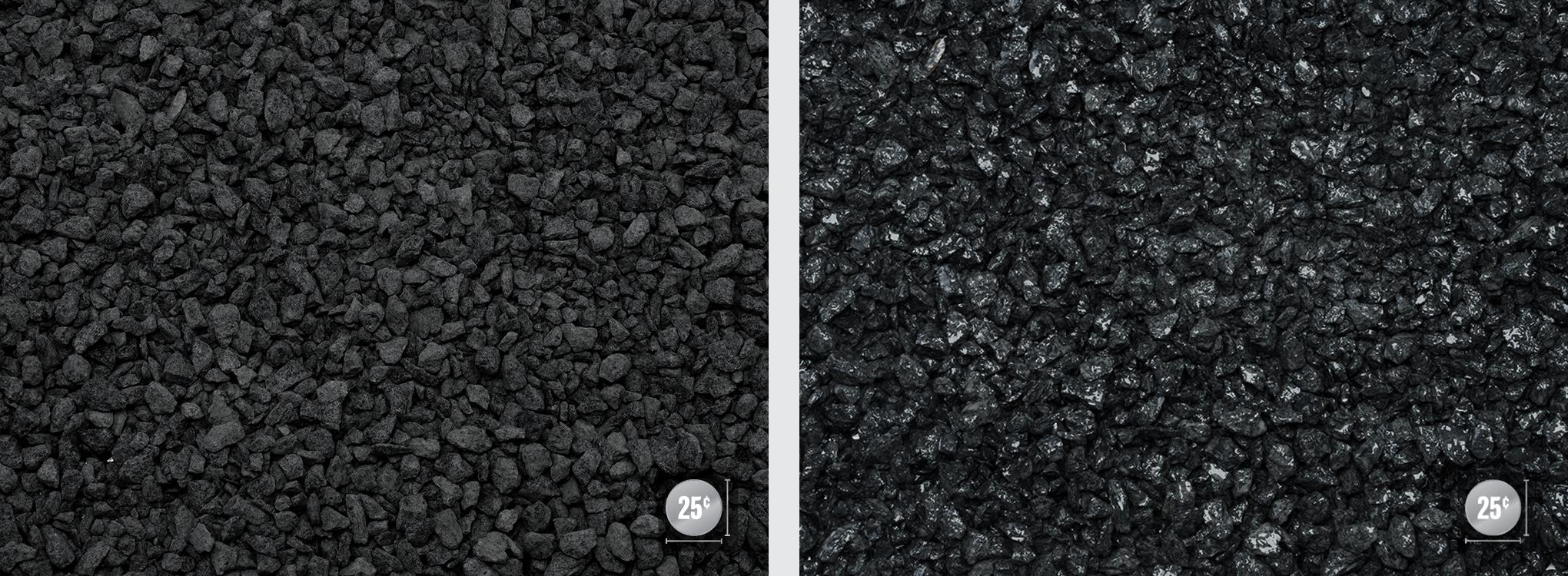 """1/4"""" - 1/2"""" (Left: Dry, Right: Wet)"""