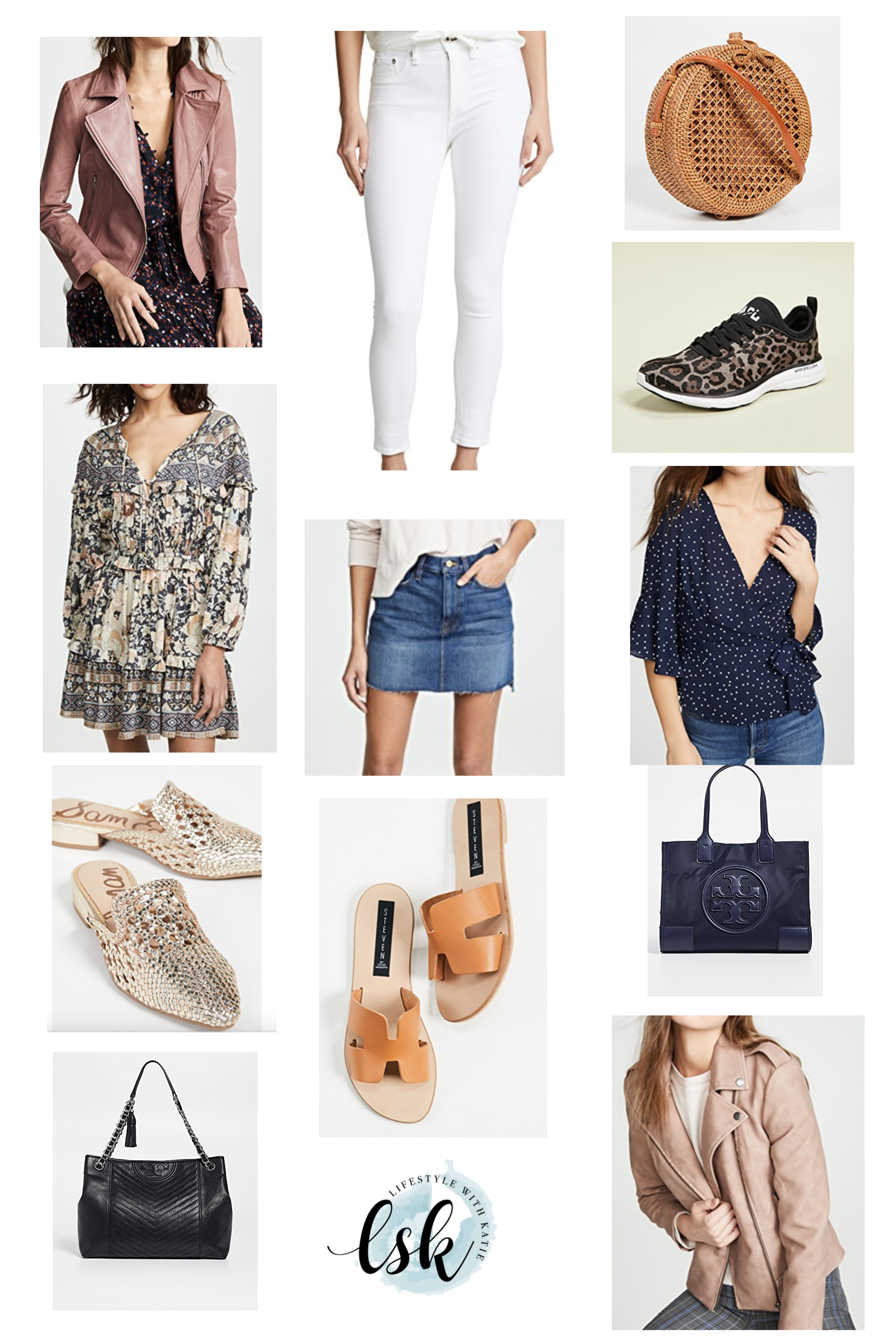CLICK LINKS BELOW FOR EACH ITEM     Pink Leather Jacket    |    white denim    |    Round wicker bag    |    leopard sneakers    |    floral dress    |    denim skirt    |    polka dot blouse    |    gold mules    |    tan slides        navy tote    |    black handbag    |    pick moto jacket